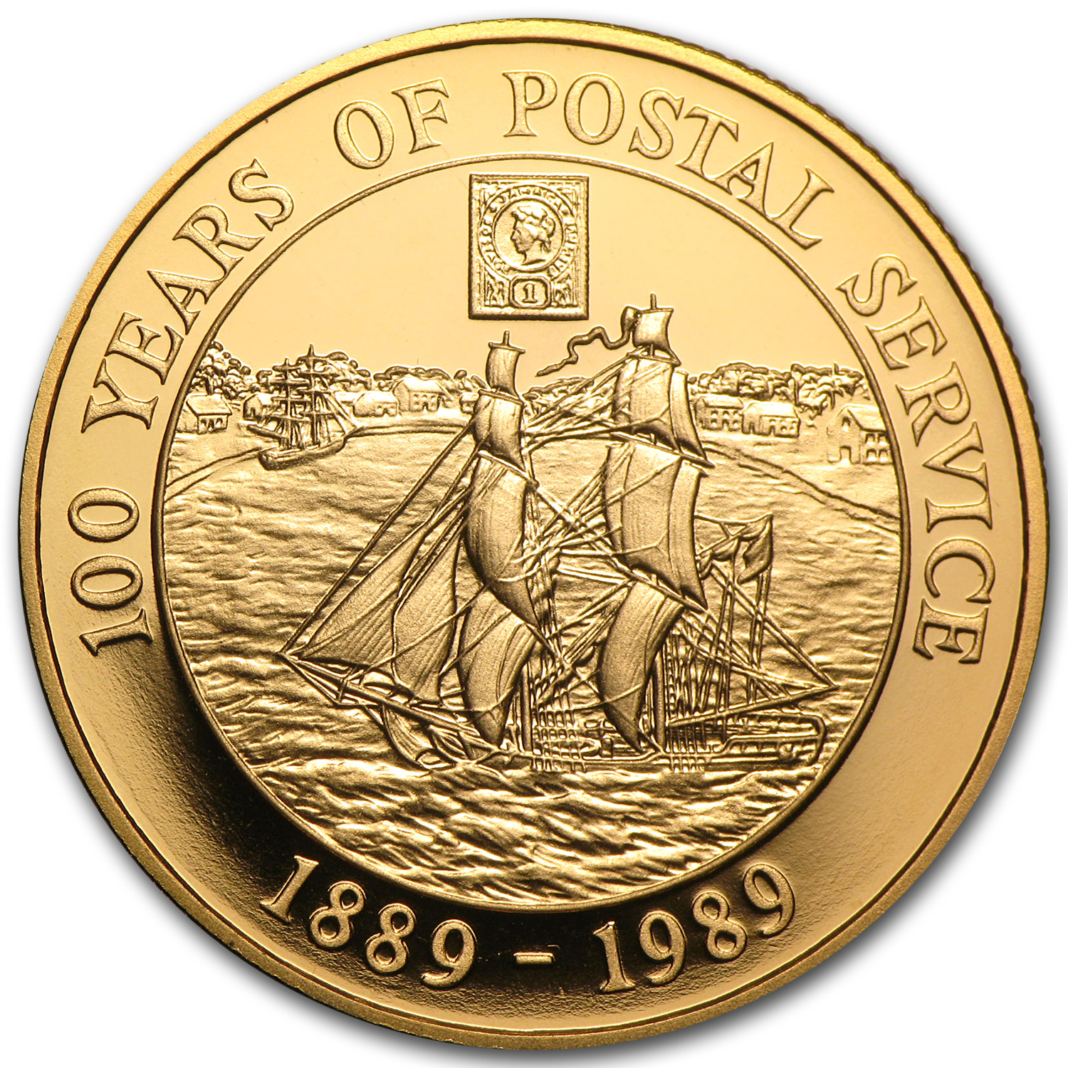 1989 Cayman Islands Proof Gold 100 Dollars Postal Service