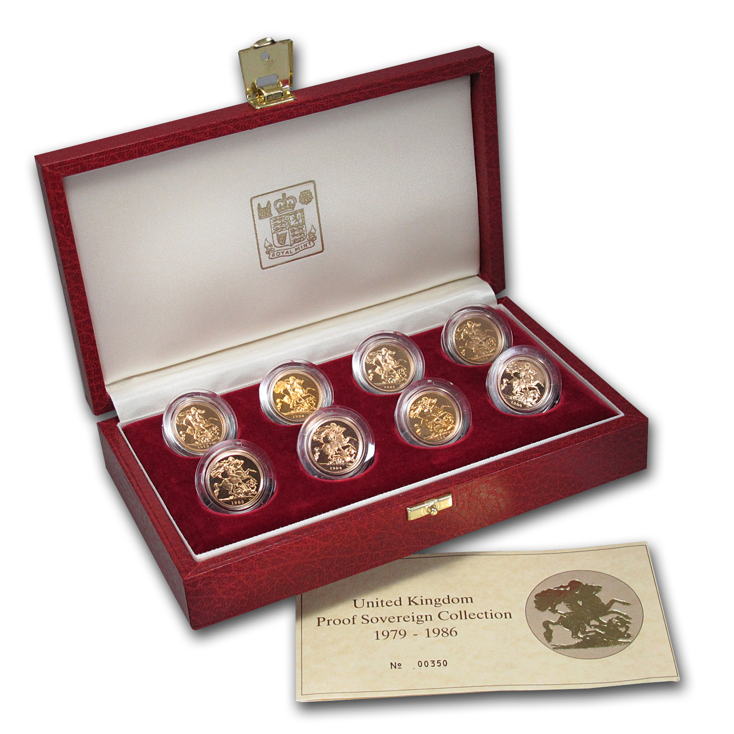 1979-1986 Great Britain 8-Coin Gold Sovereign Proof Set