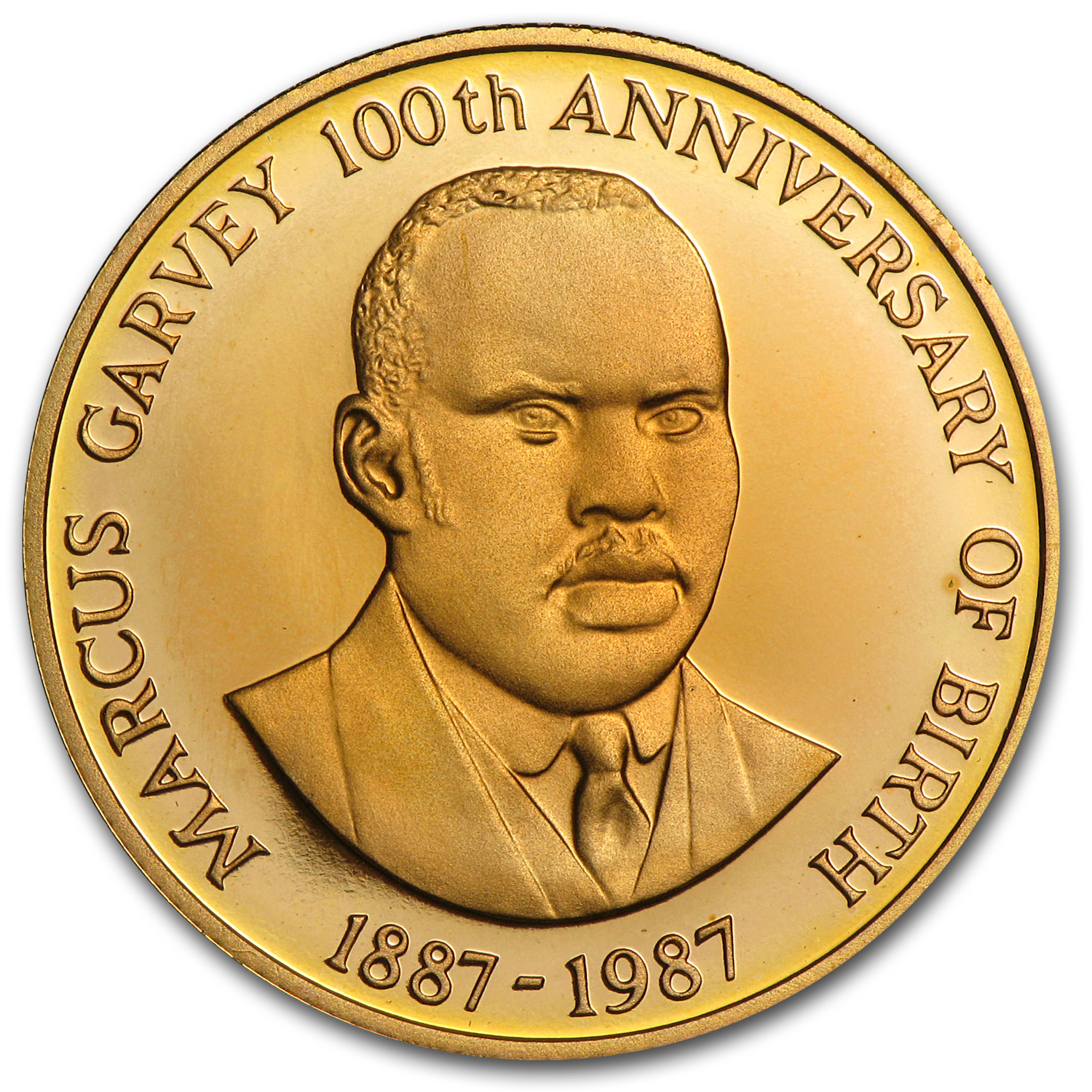 1987 Jamaica Proof Gold 100 Dollars Marcus Garvey
