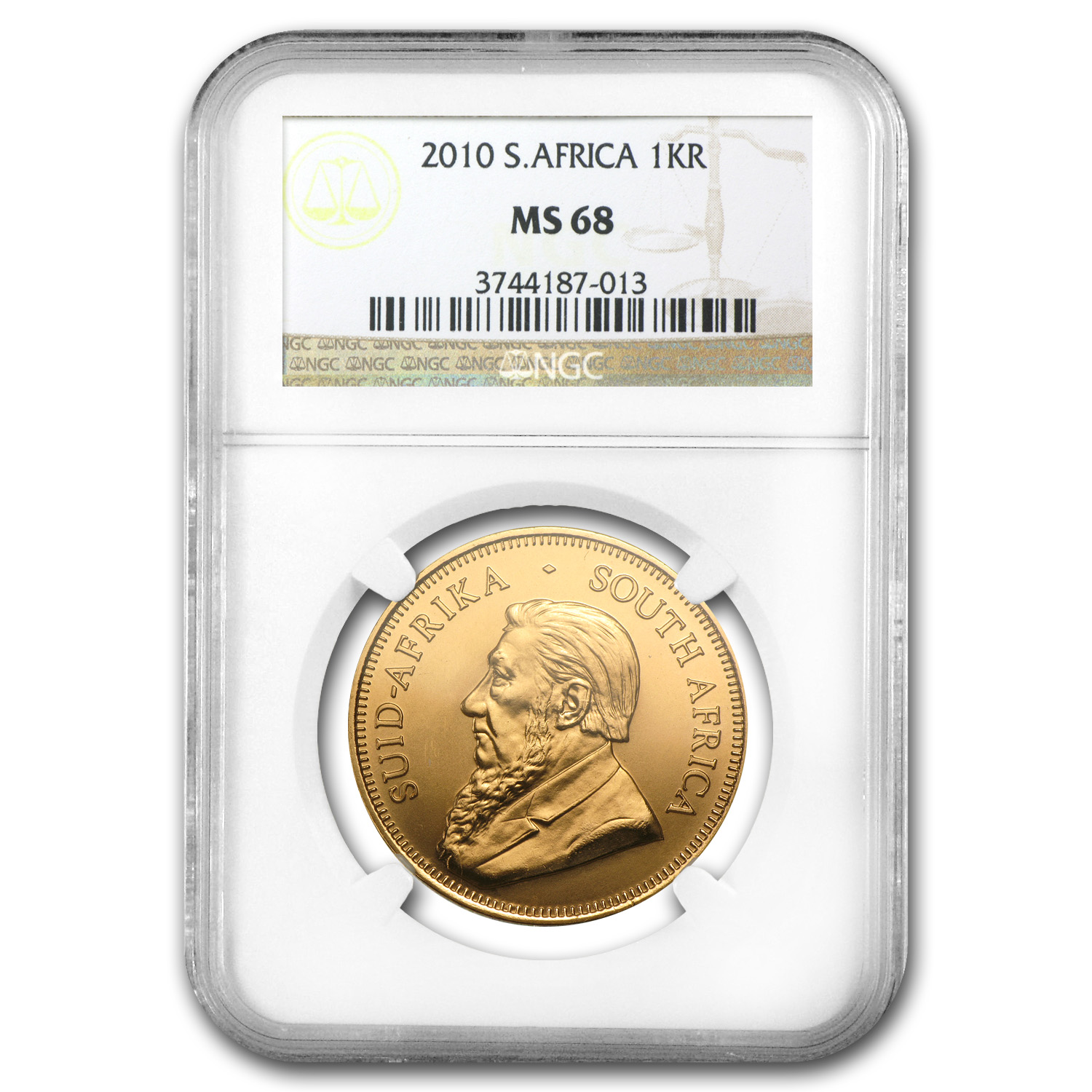 2010 1 oz Gold South African Krugerrand MS-68 NGC