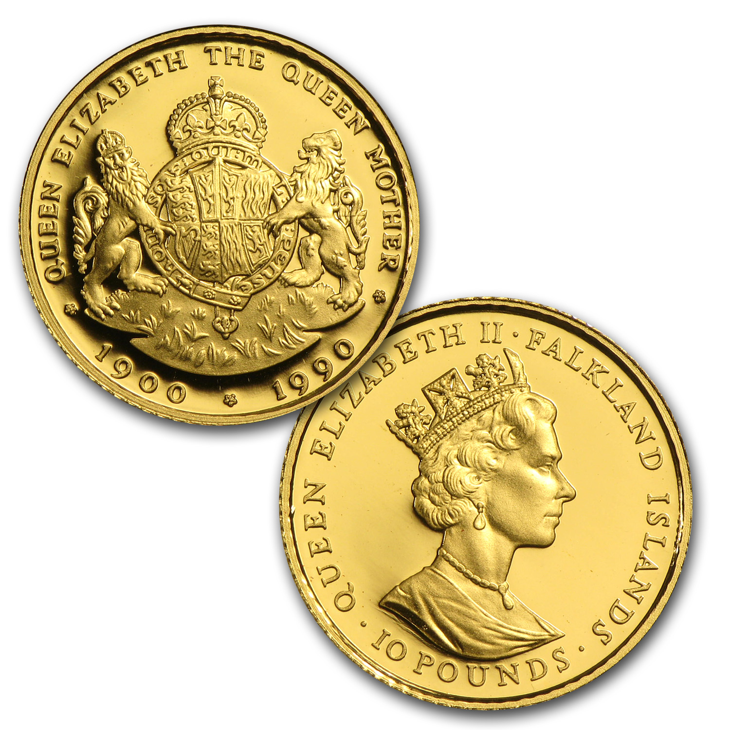 1990 Falkland Islands 4-Coin Gold Queen Mother Proof Set