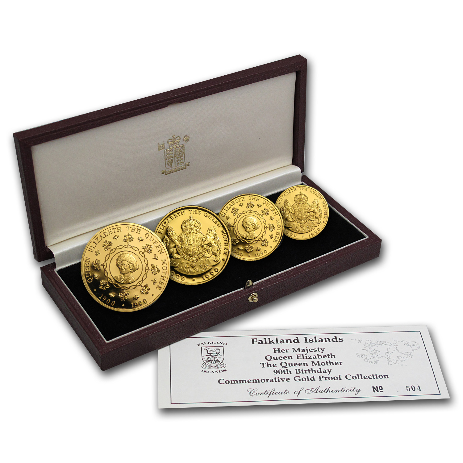 Falkland Islands 1990 Gold Proof 4 Coin Set Queen Mother