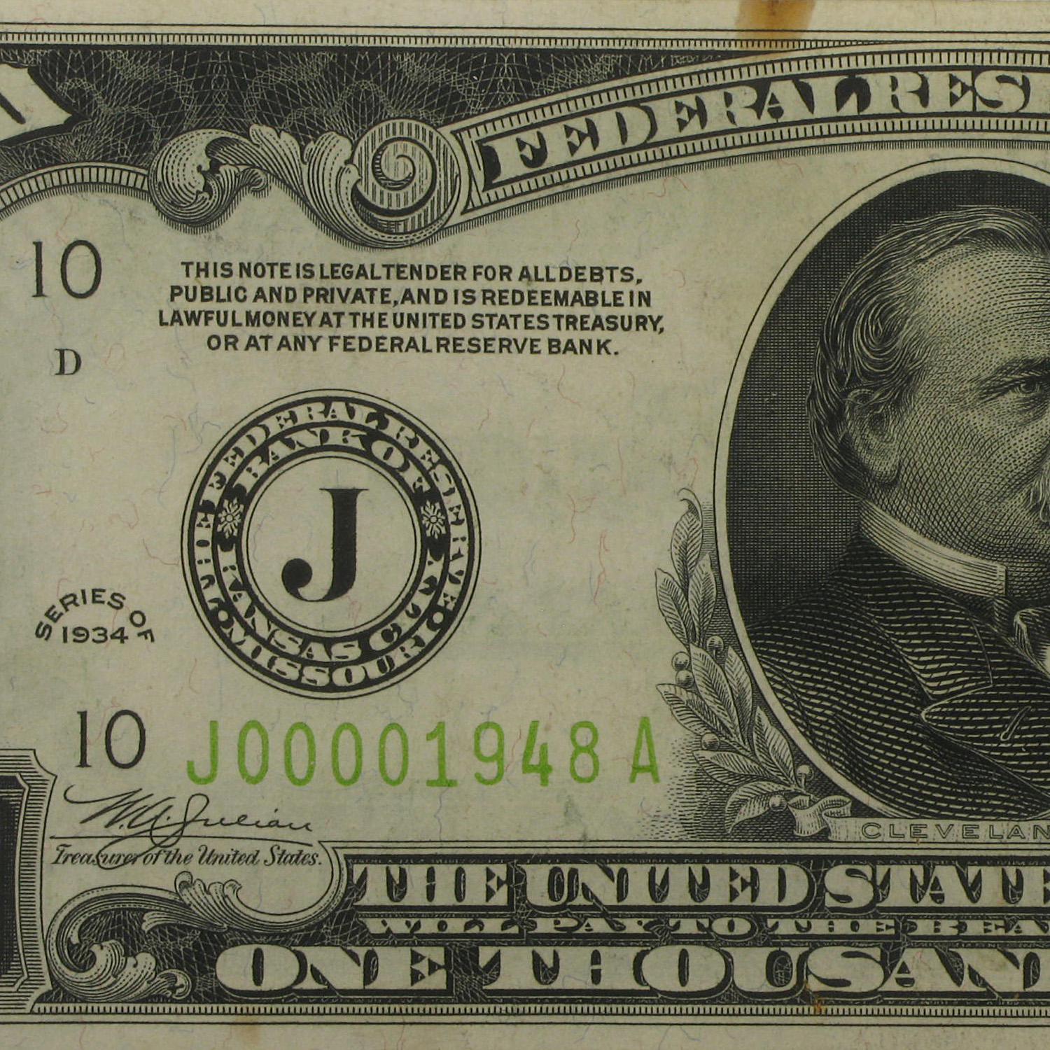 1934 (J-Kansas City) $1,000 FRN XF (Light Green Seal)