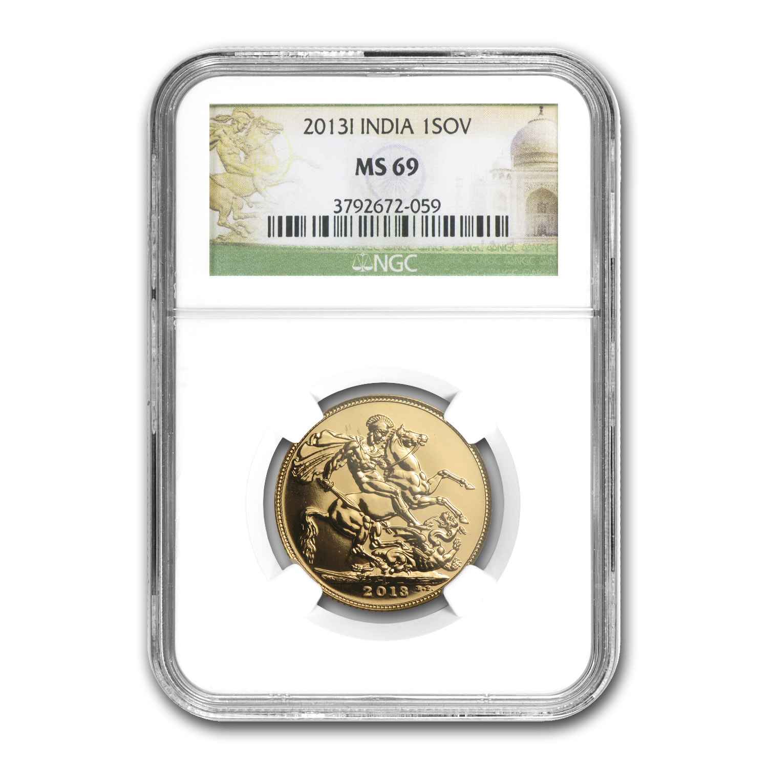 2013 India Gold Sovereign MS-69 NGC