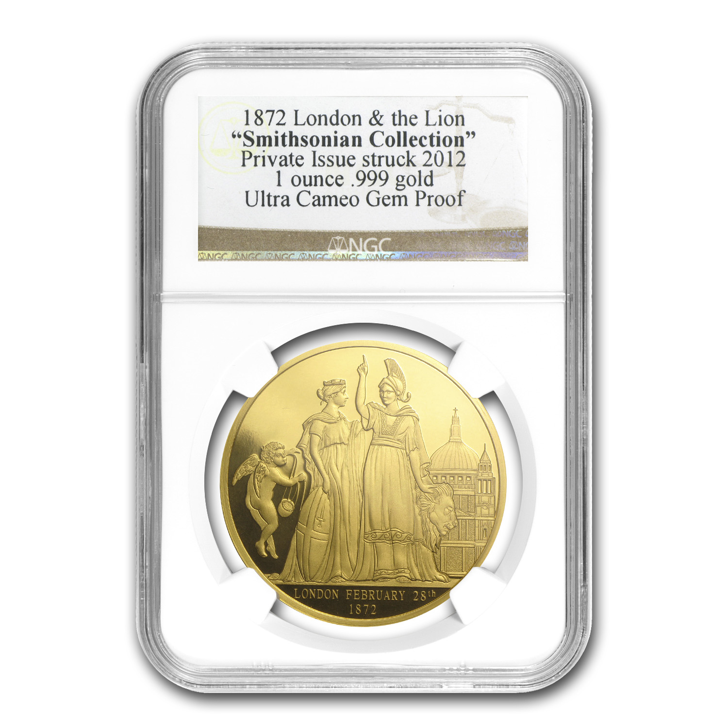 1 oz Gold Round - 1872 London & The Lion Gem Proof NGC