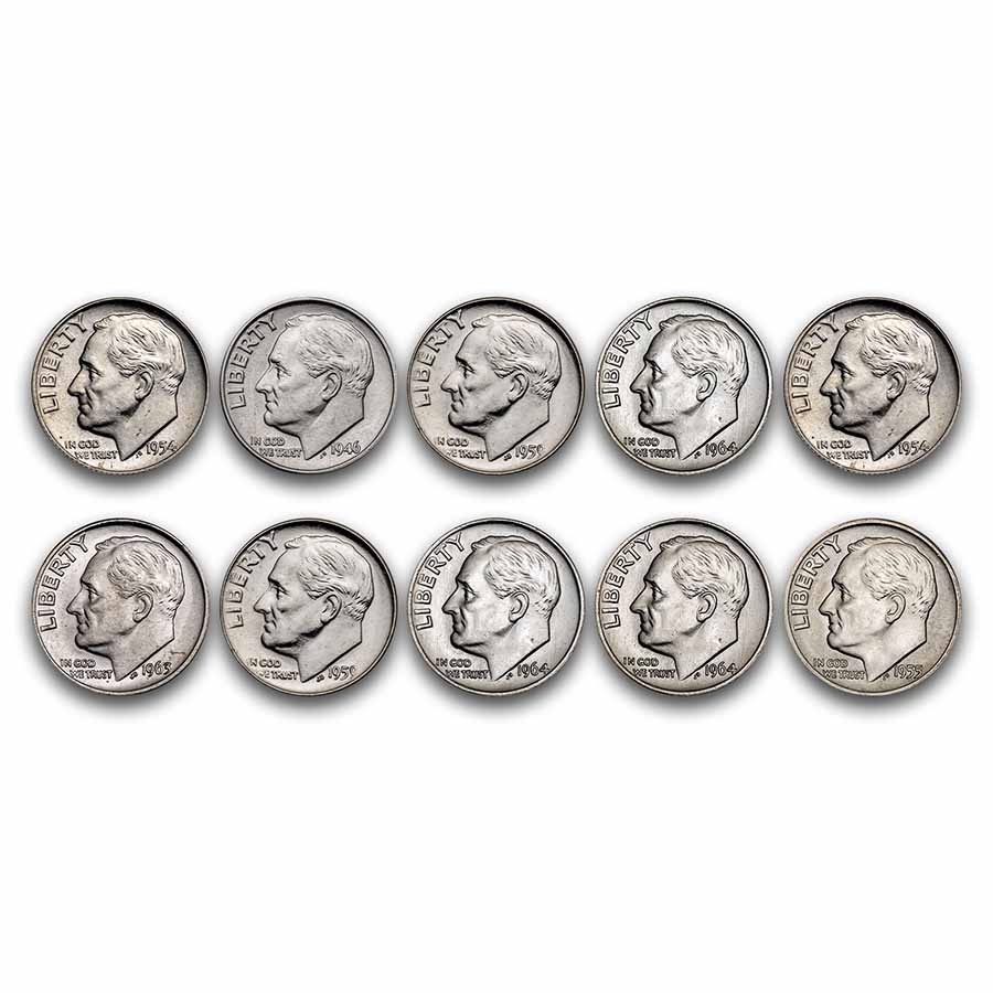 $1.00 Face Value Roosevelt Dimes BU