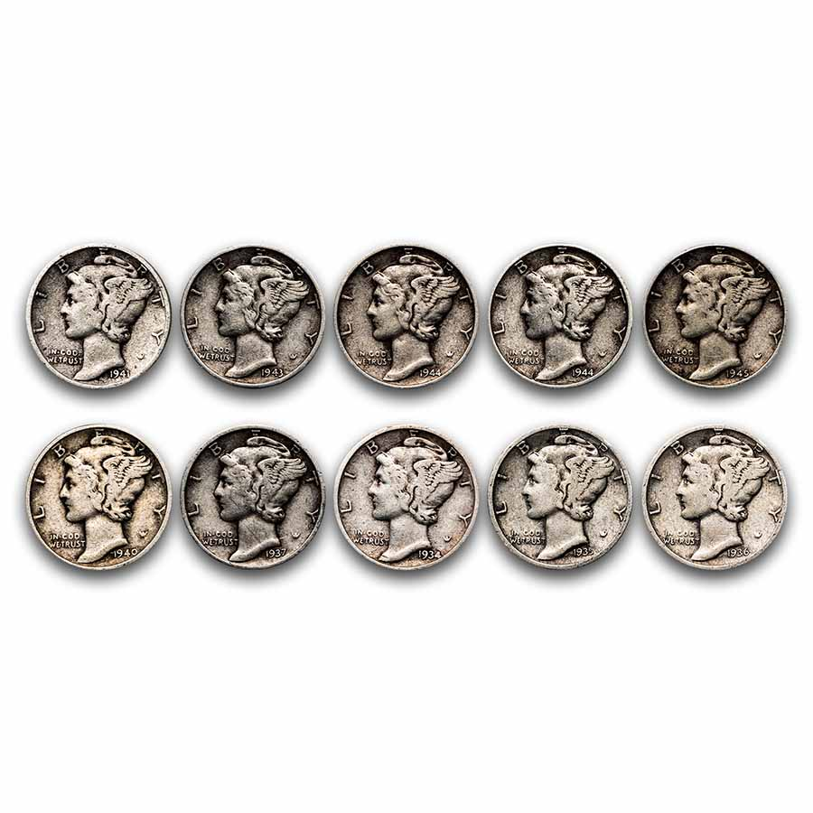$1.00 Face Value 90% Mercury Dimes Avg Circ