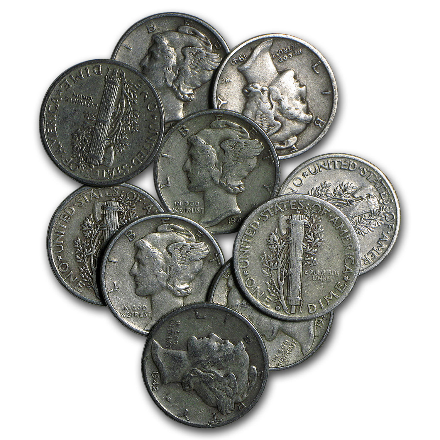 $1.00 Face Value XF Mercury Dimes