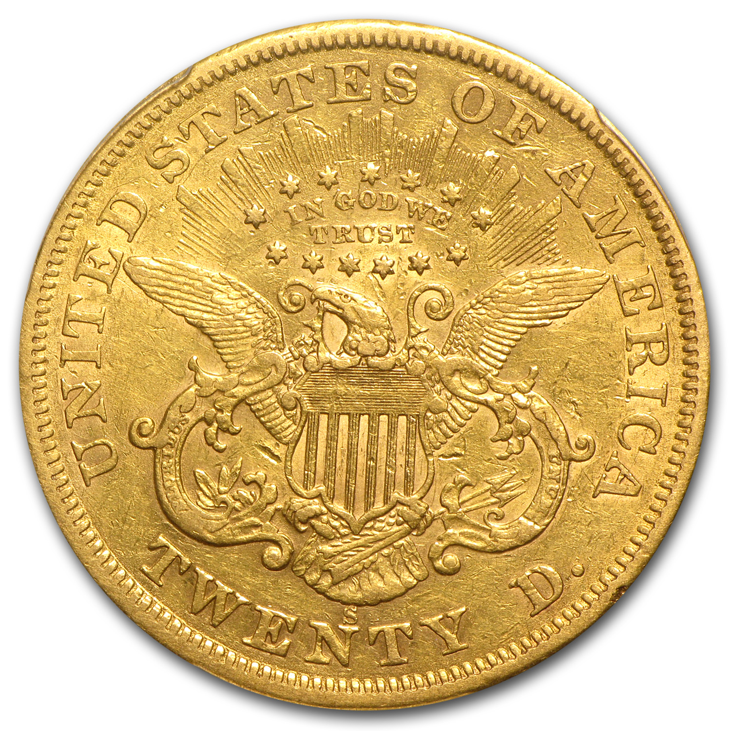 1866-S $20 Gold Liberty Double Eagle (Motto) - XF-45 PCGS MPD
