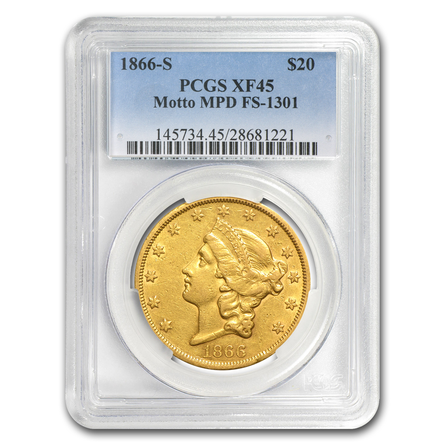 1866-S $20 Gold Liberty Double Eagle XF-45 PCGS (w/Motto, MPD)