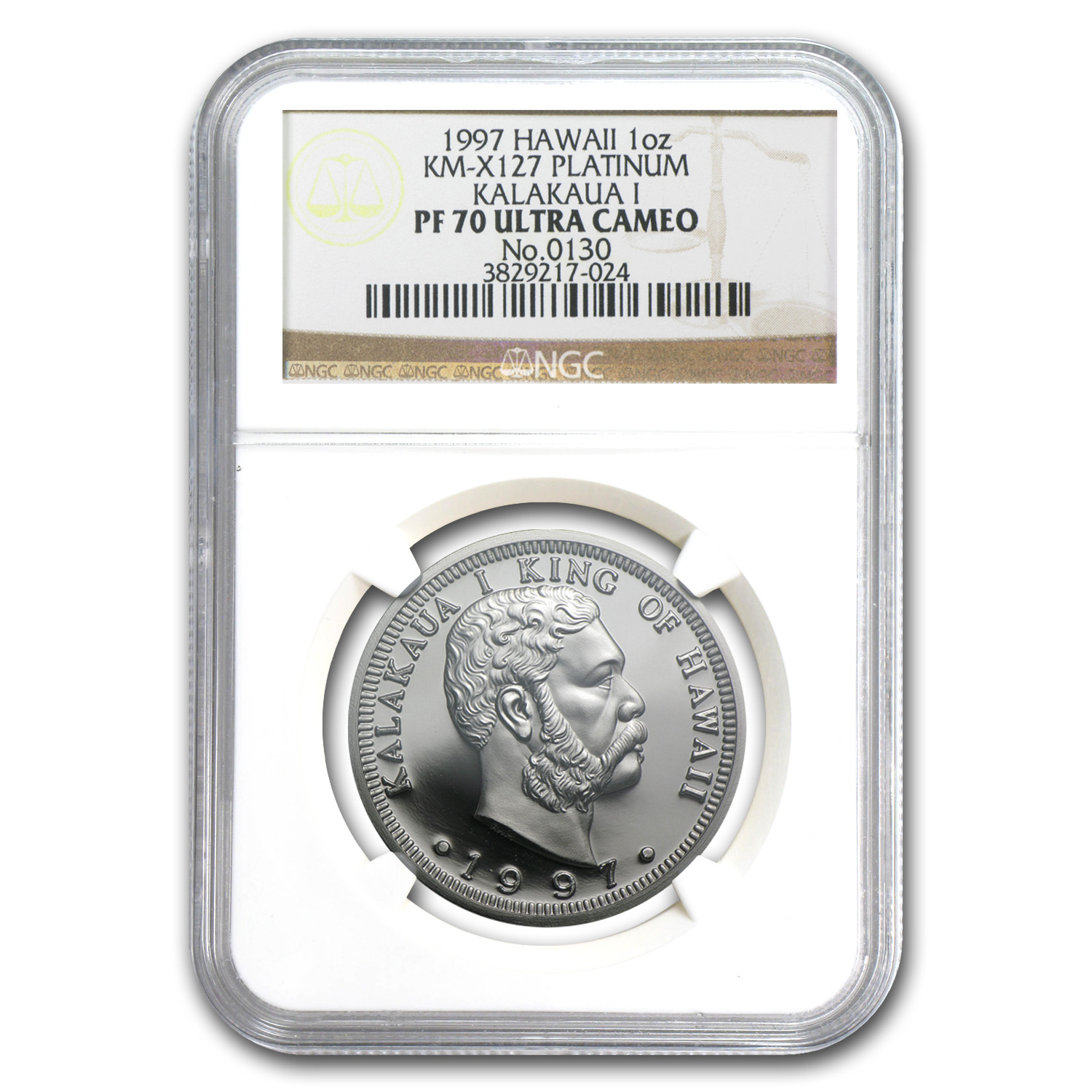 1997 1 oz Hawaiian Platinum King PF-70 UCAM NGC