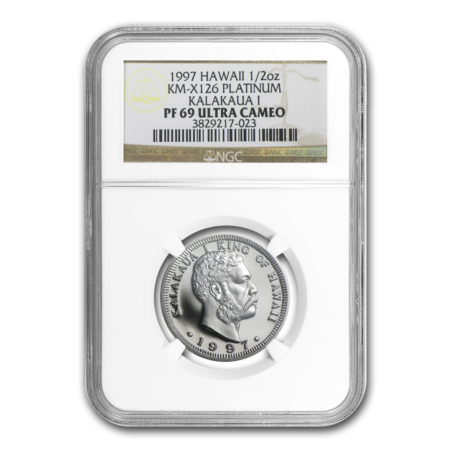 1997 1/2 oz Proof Platinum Hawaiian King PF-69 NGC
