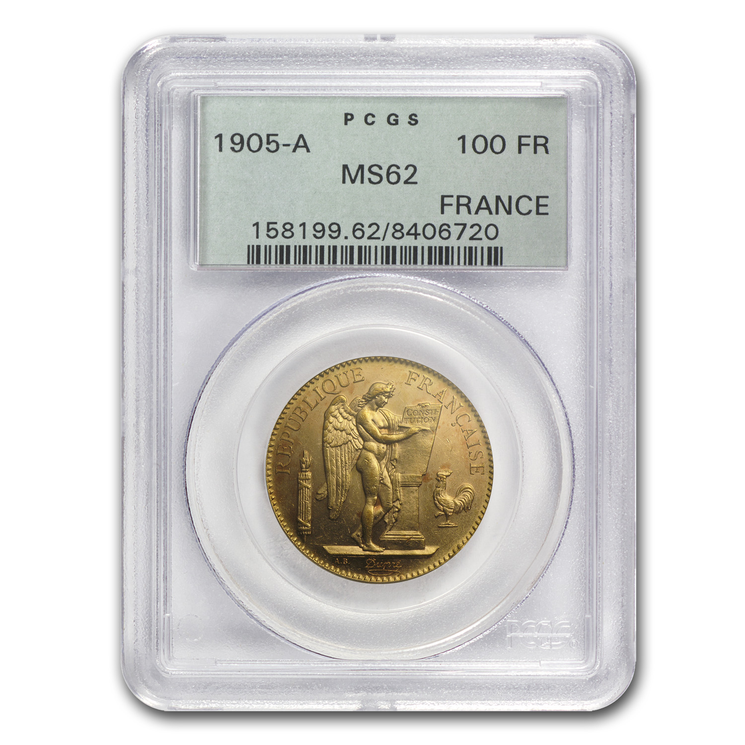 1905 France Gold 100 Francs Angel MS-62 PCGS