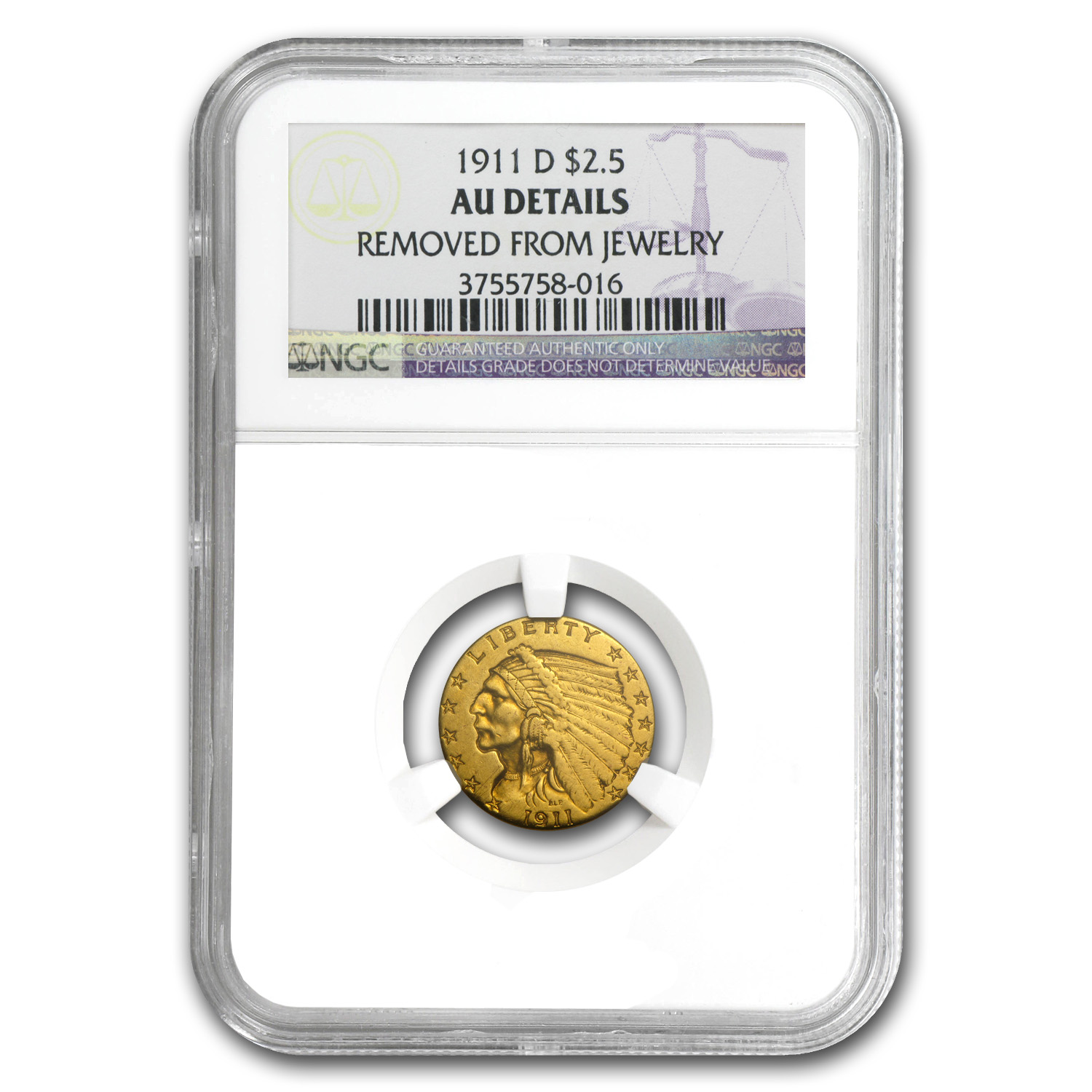 1911-D $2.50 Indian Gold Strong-D AU Details NGC (Jewelry)