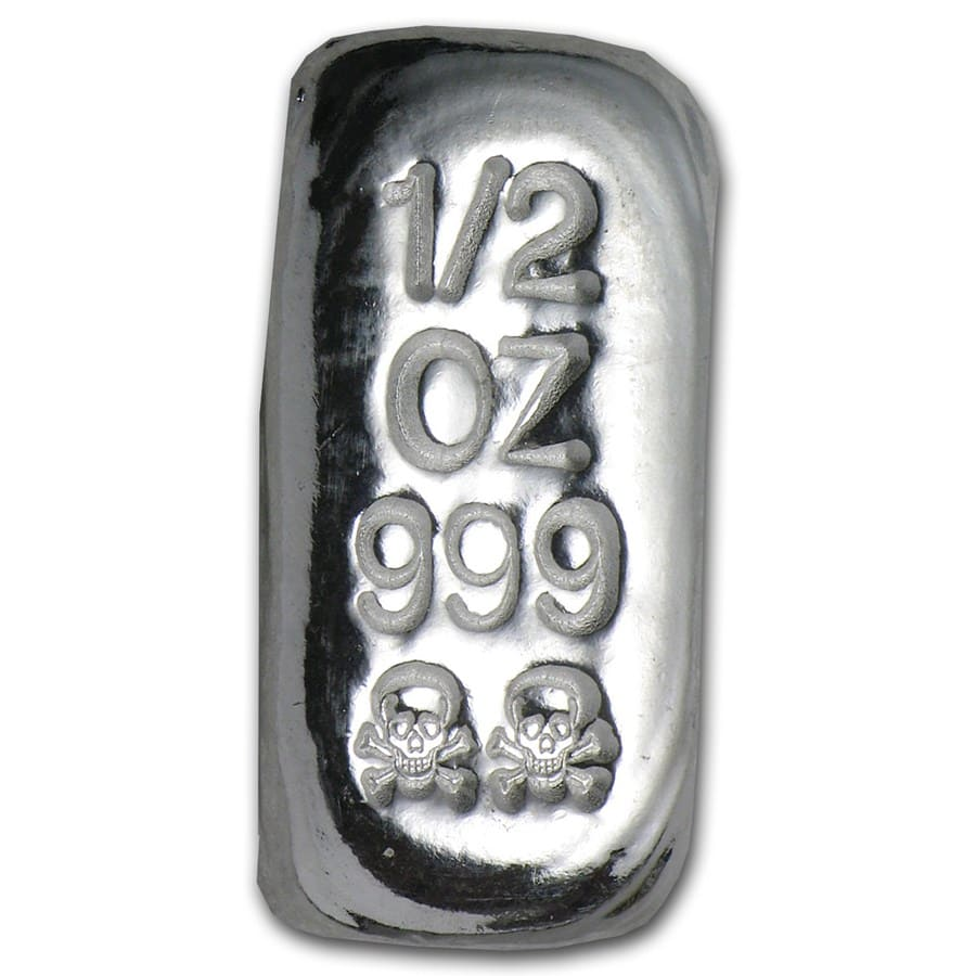 1/2 oz Silver Bars - Skull & Bones (Atlantis Mint)
