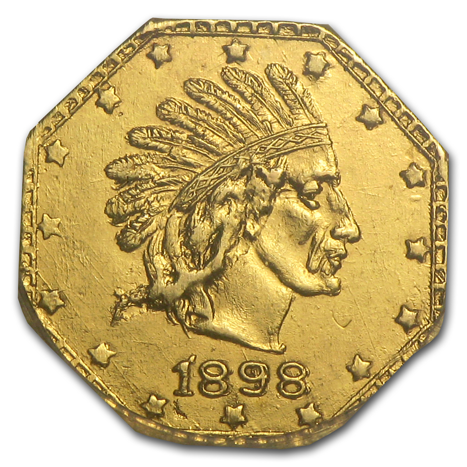 1898 Indian Octagonal One Pinch Alaska Gold MS-64 NGC