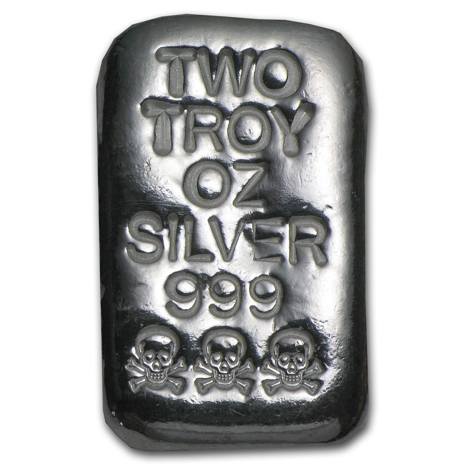 2 oz Silver Bar - Atlantis Mint (Skull & Bones)
