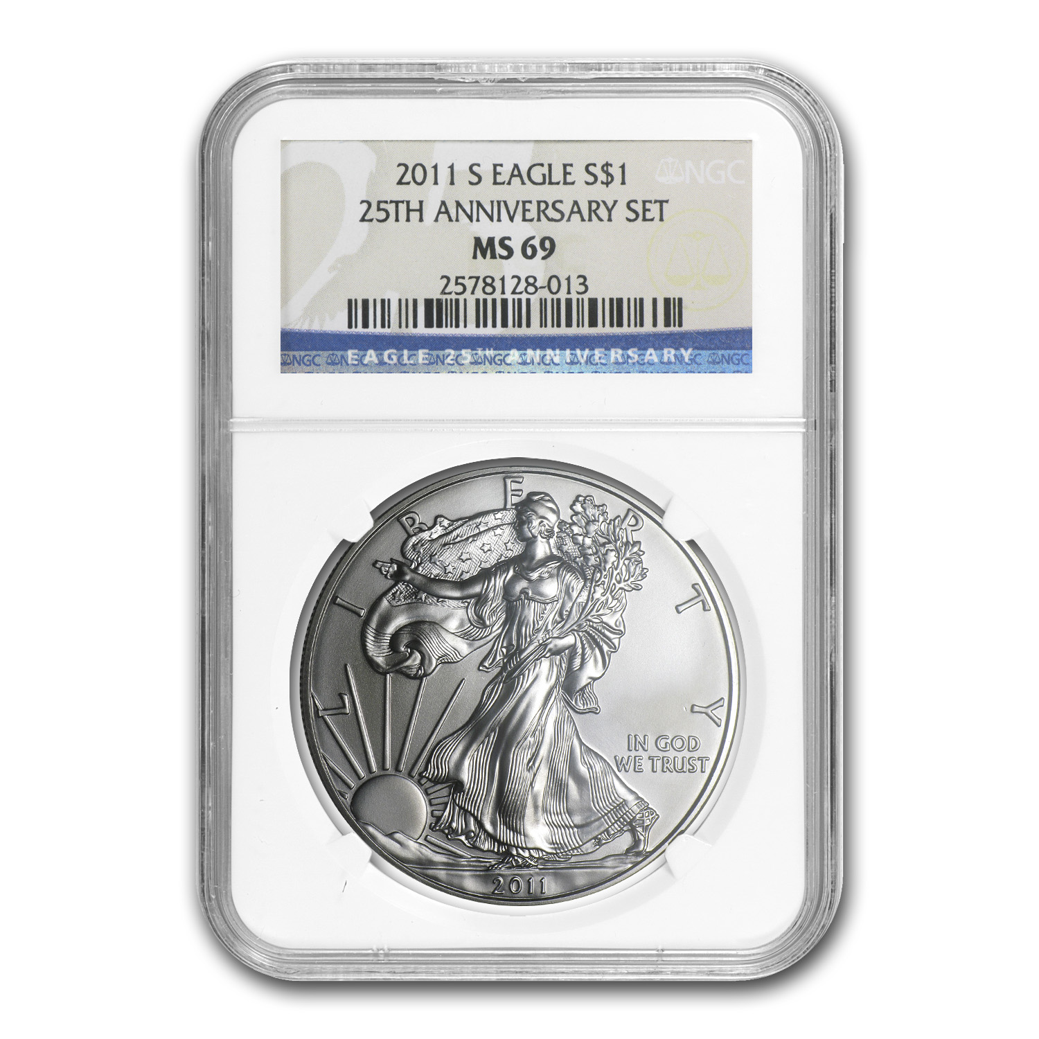 2011-S Silver American Eagle MS-69 NGC (25th Anniv)