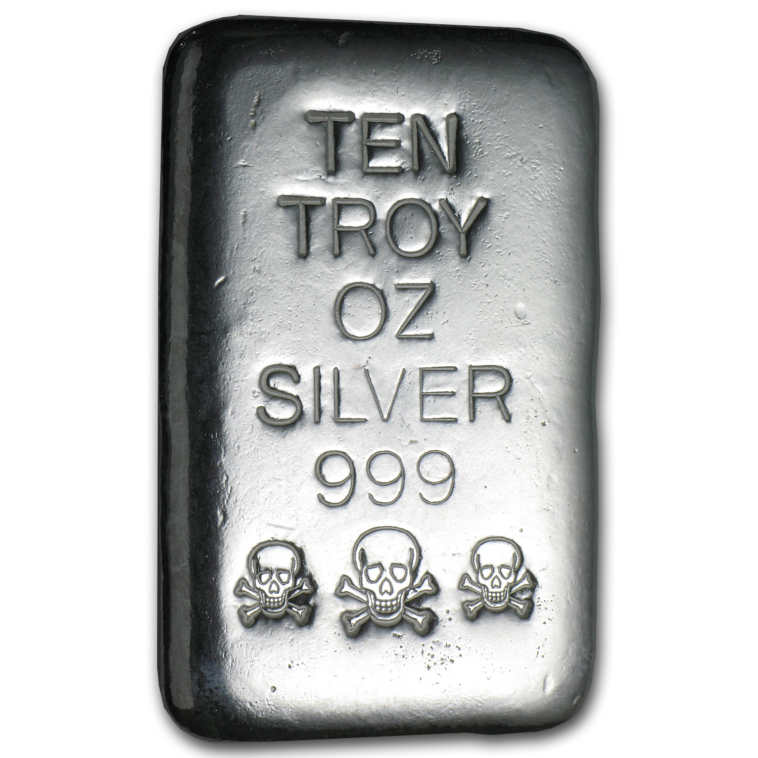 10 oz Silver Bar - Skull & Bones (Atlantis Mint)
