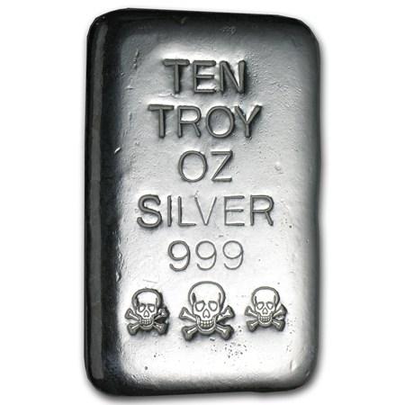 10 Oz Silver Bar Skull Amp Bones Atlantis Mint 10 Oz