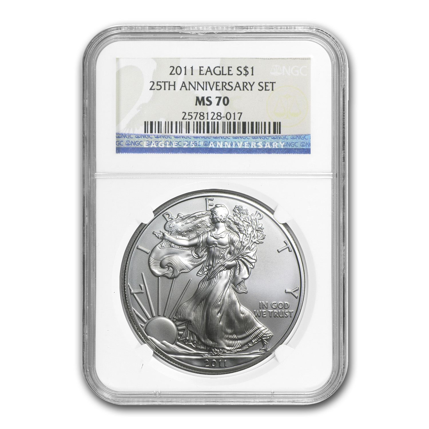 2011 1 oz Silver Eagle MS-70 NGC 25th Anniv
