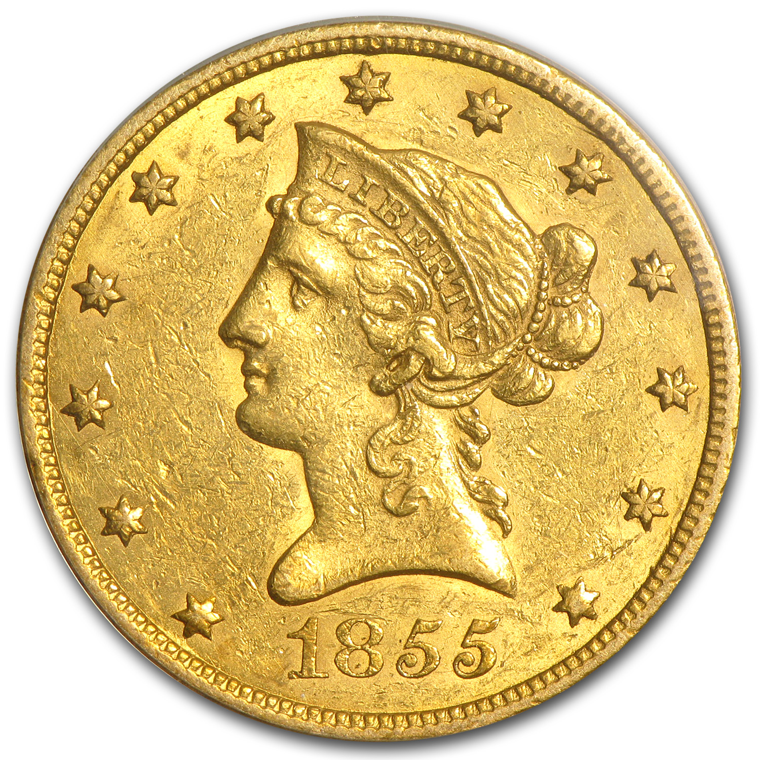 1855 $10 Liberty Gold Eagle - Almost Uncirculated