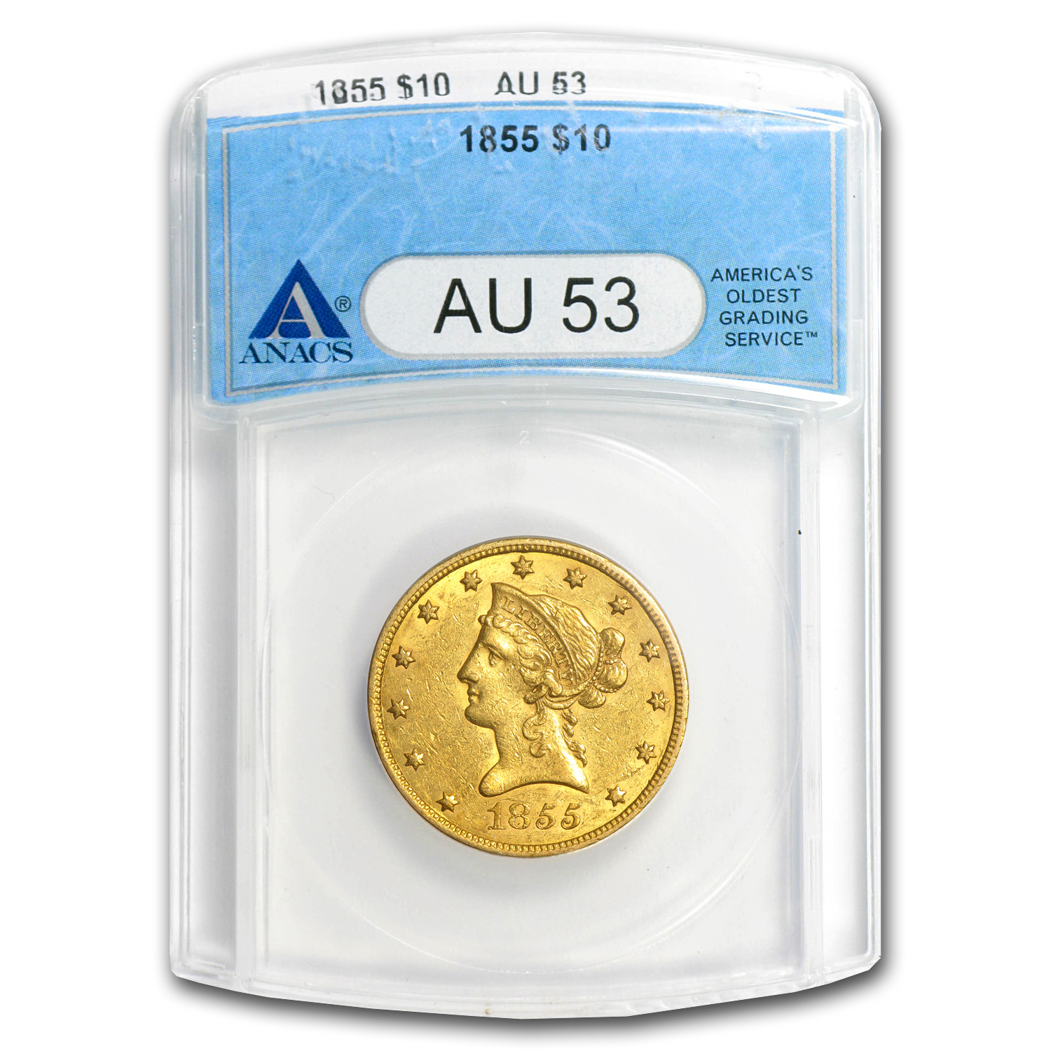 1855 $10 Liberty Gold Eagle AU