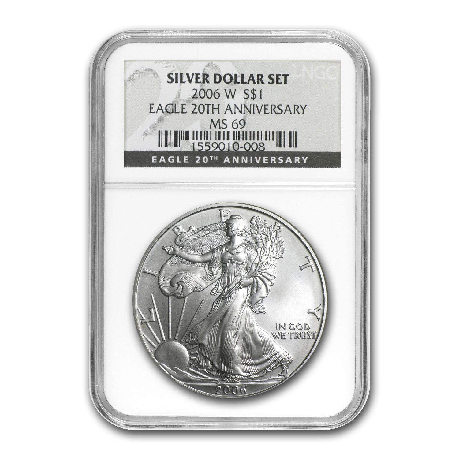 2006-W Burnished Silver Eagle MS-69 NGC (Black Label)