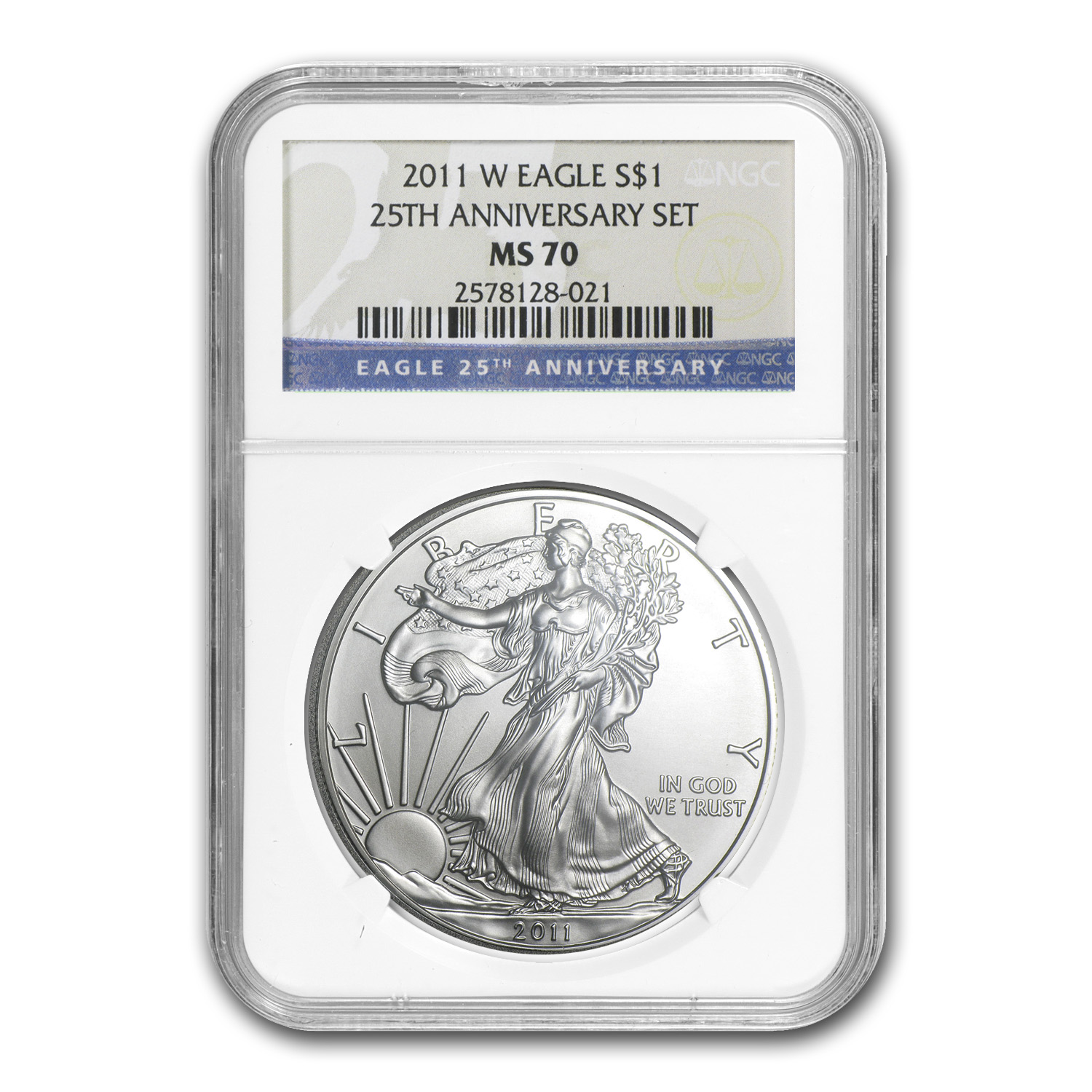 2011-W Burnished Silver Eagle MS-70 NGC (25th Anniv)