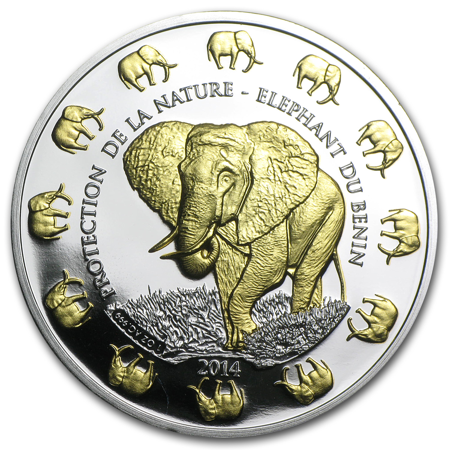 2014 Benin 1 oz Silver Protection de la Nature Elephant (Gilded)