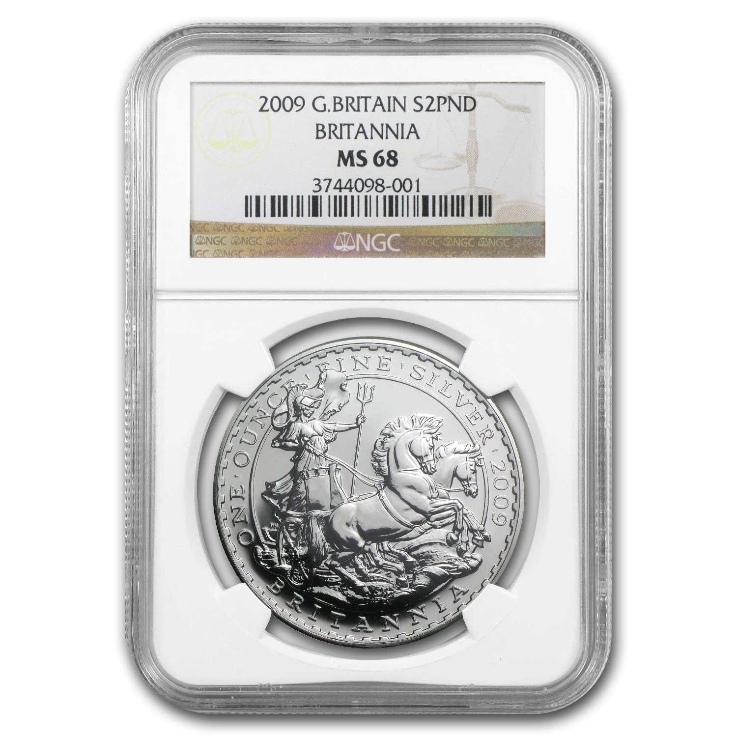 2009 Great Britain 1 oz Silver Britannia MS-68 NGC