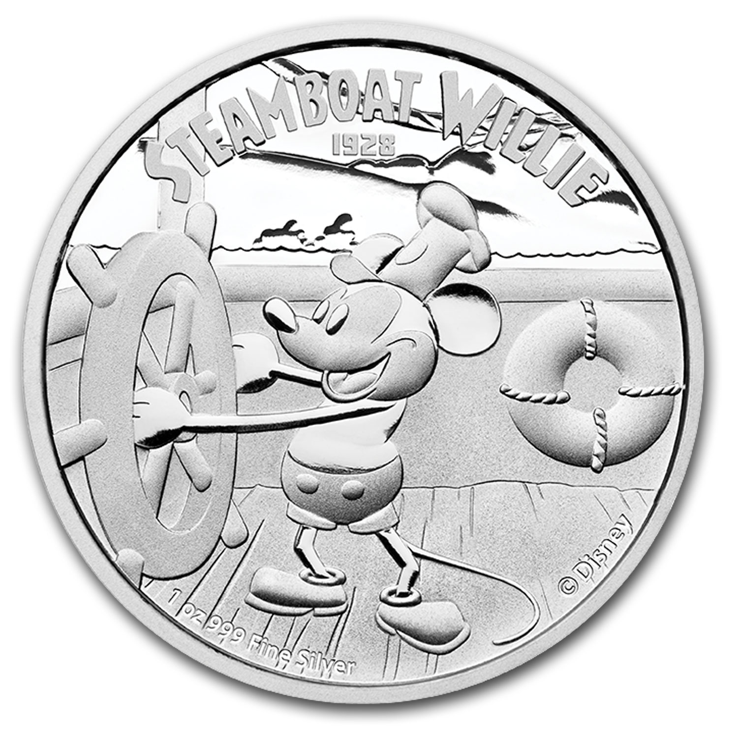 2014 Niue 1 oz Silver $2 Disney Steamboat Willie