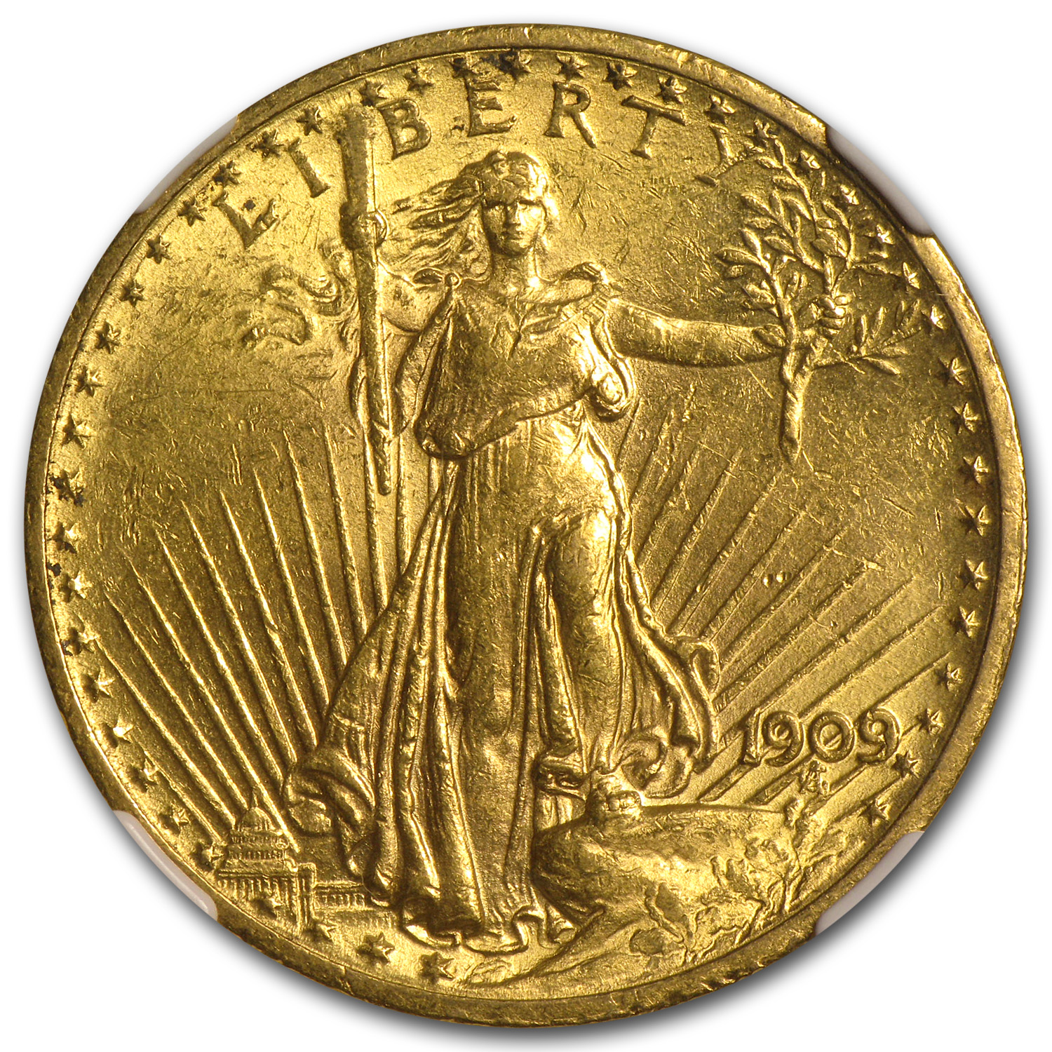 1909 $20 St. Gaudens Gold Double Eagle MS-62 NGC