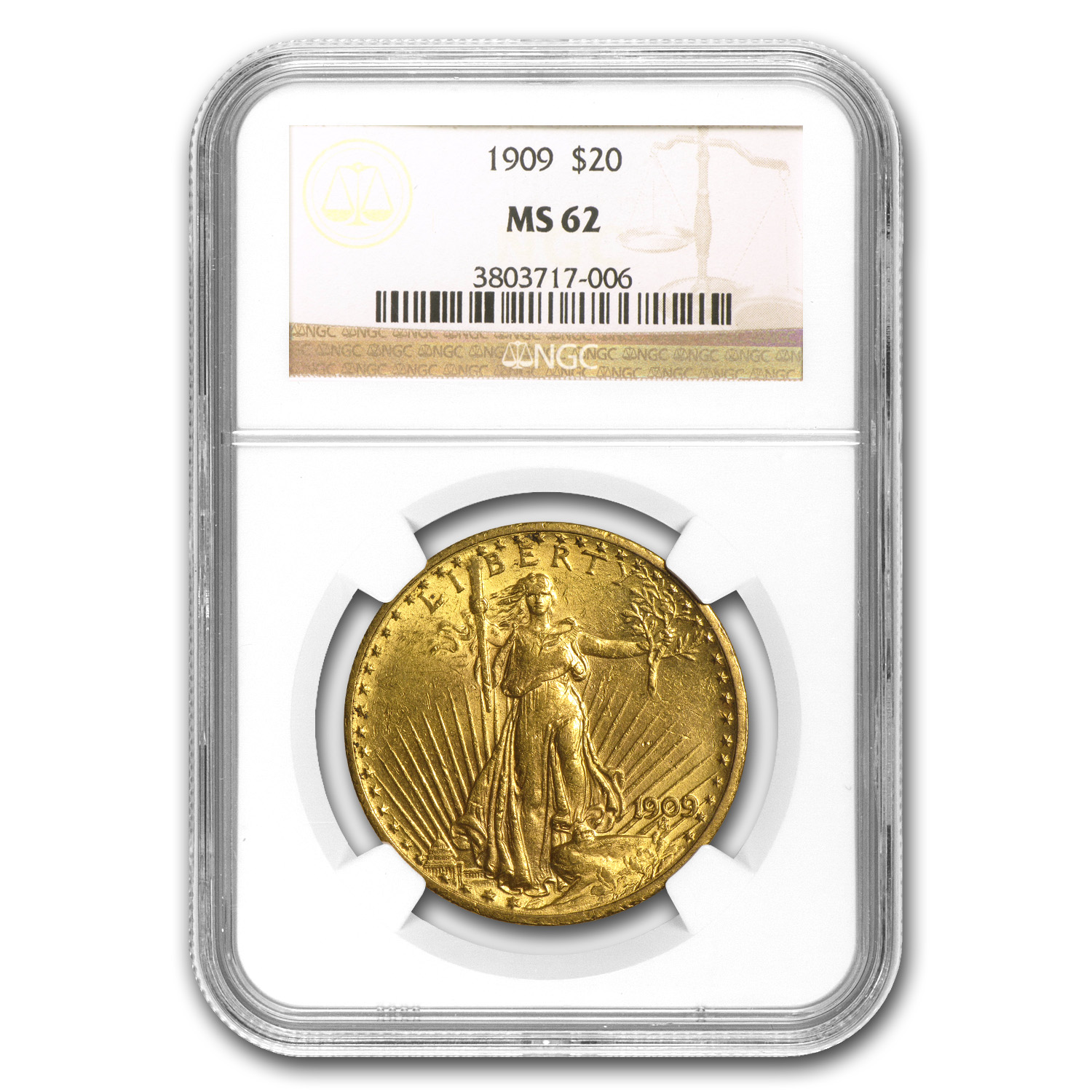 1909 $20 Saint-Gaudens Gold Double Eagle MS-62 NGC