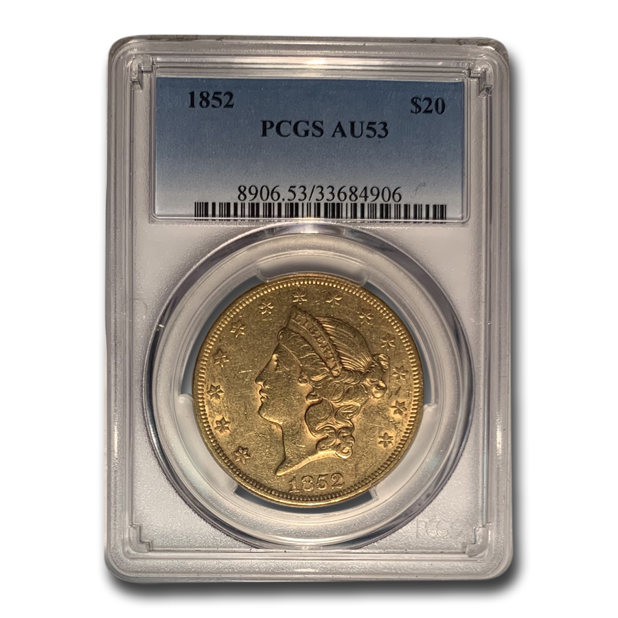 1852 $20 Liberty Gold Double Eagle AU-53 PCGS
