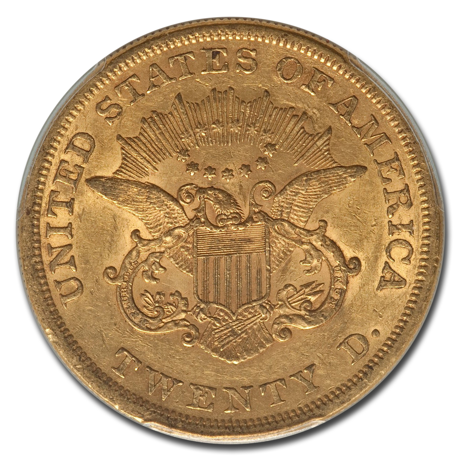 1861 $20 Liberty Gold Double Eagle AU-55 PCGS