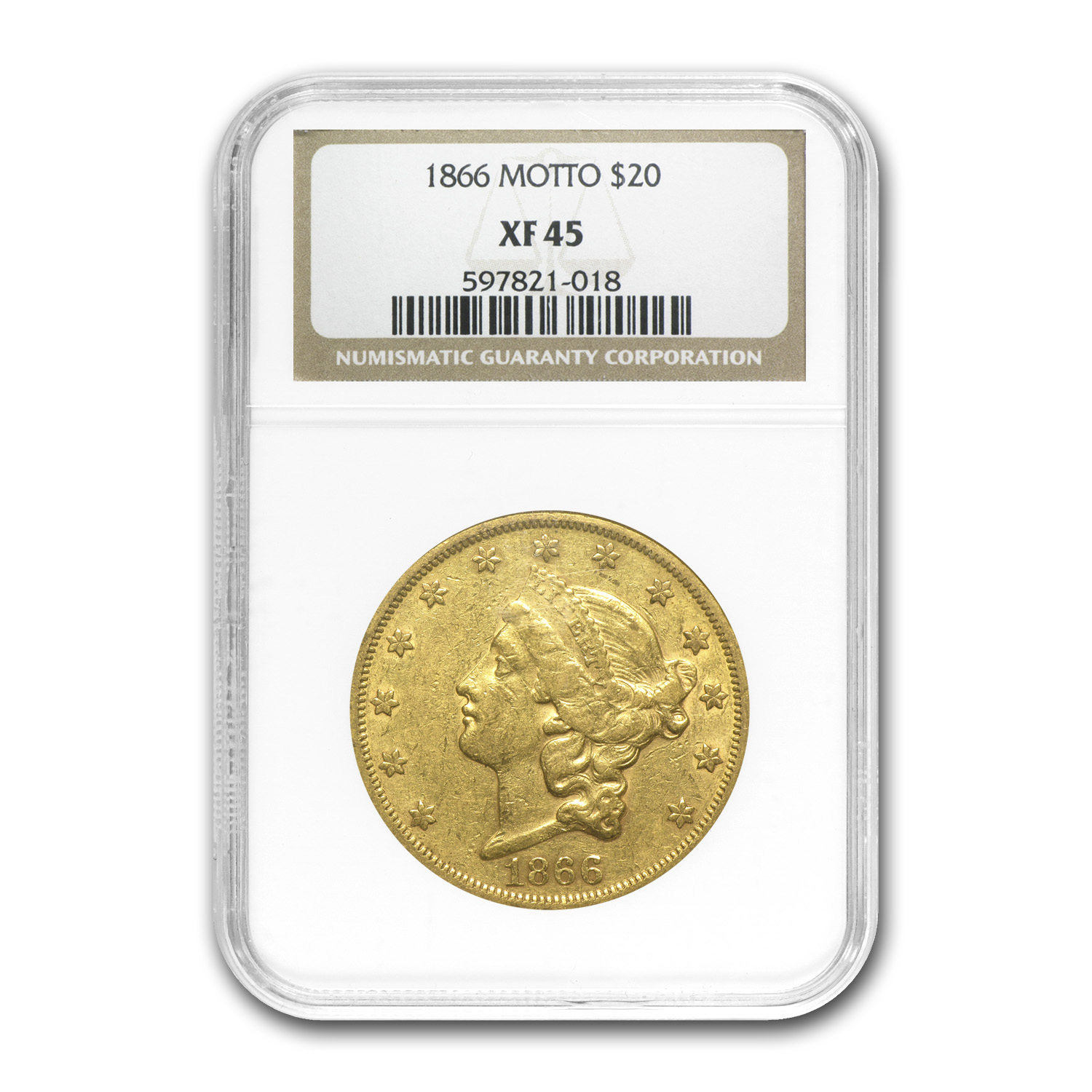1866 $20 Gold Liberty Double Eagle (Motto) - XF-45 NGC