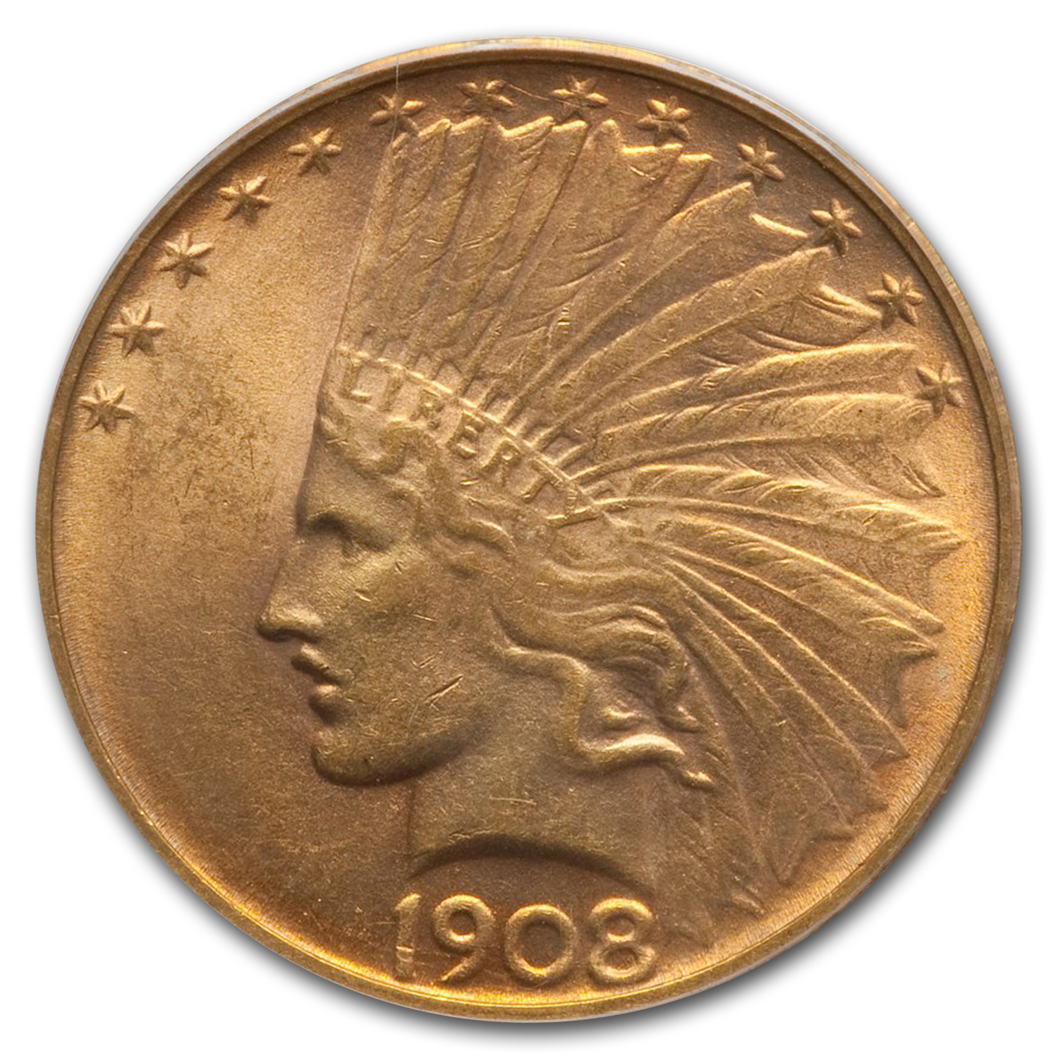 1908-D $10 Indian Gold Eagle - No Motto - MS-63 PCGS