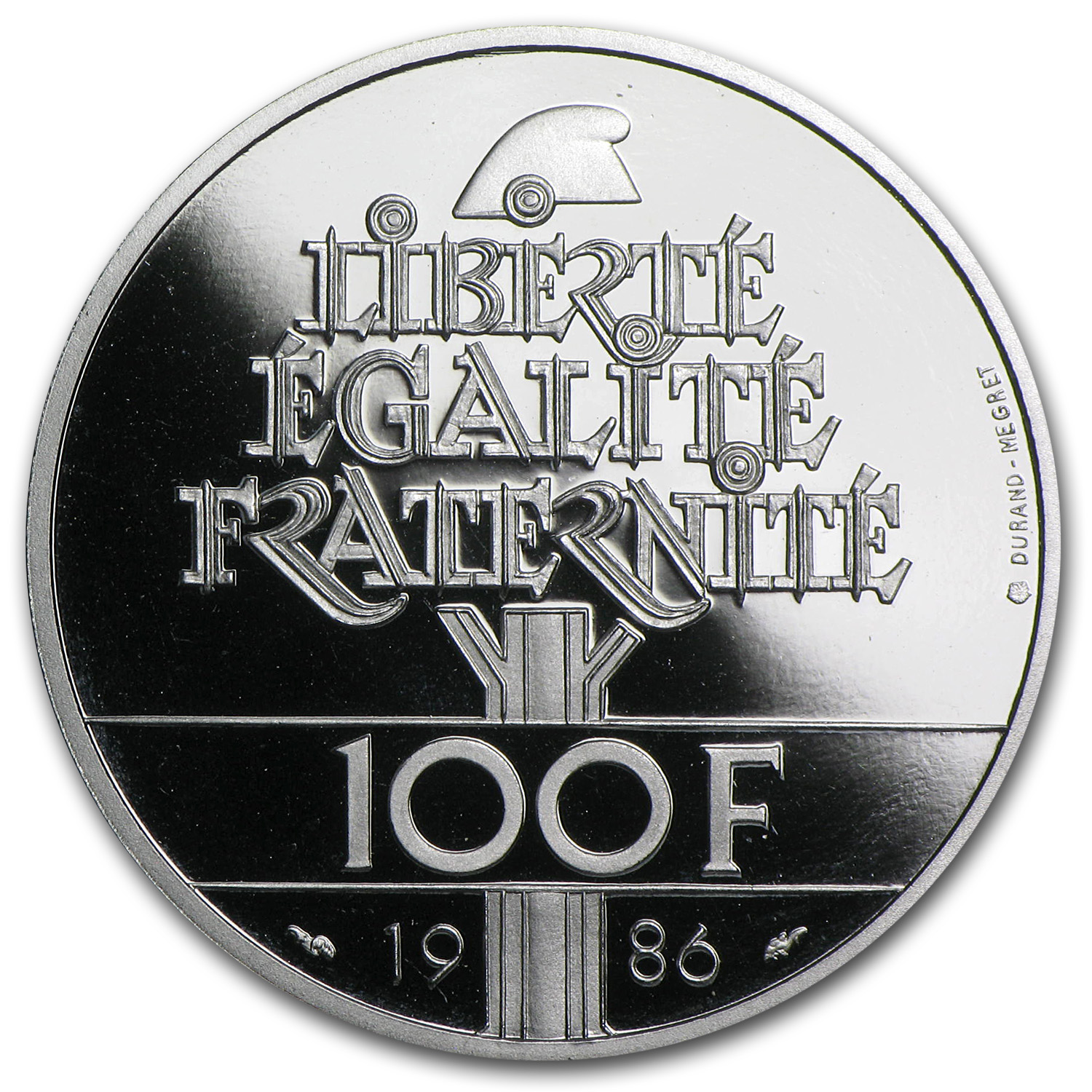 1986 Proof Statue of Liberty 100 Francs Platinum (w/Box & CoA)
