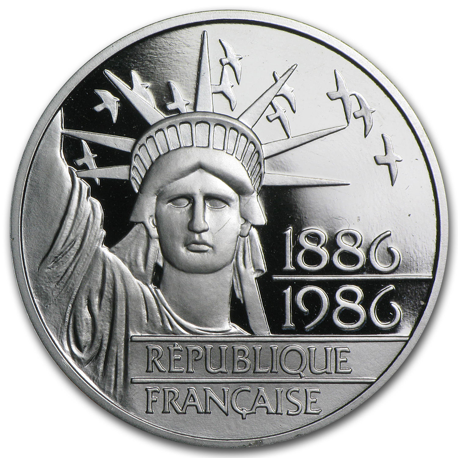 1986 Platinum 100 Francs Statue of Liberty Proof (w/Box & COA)
