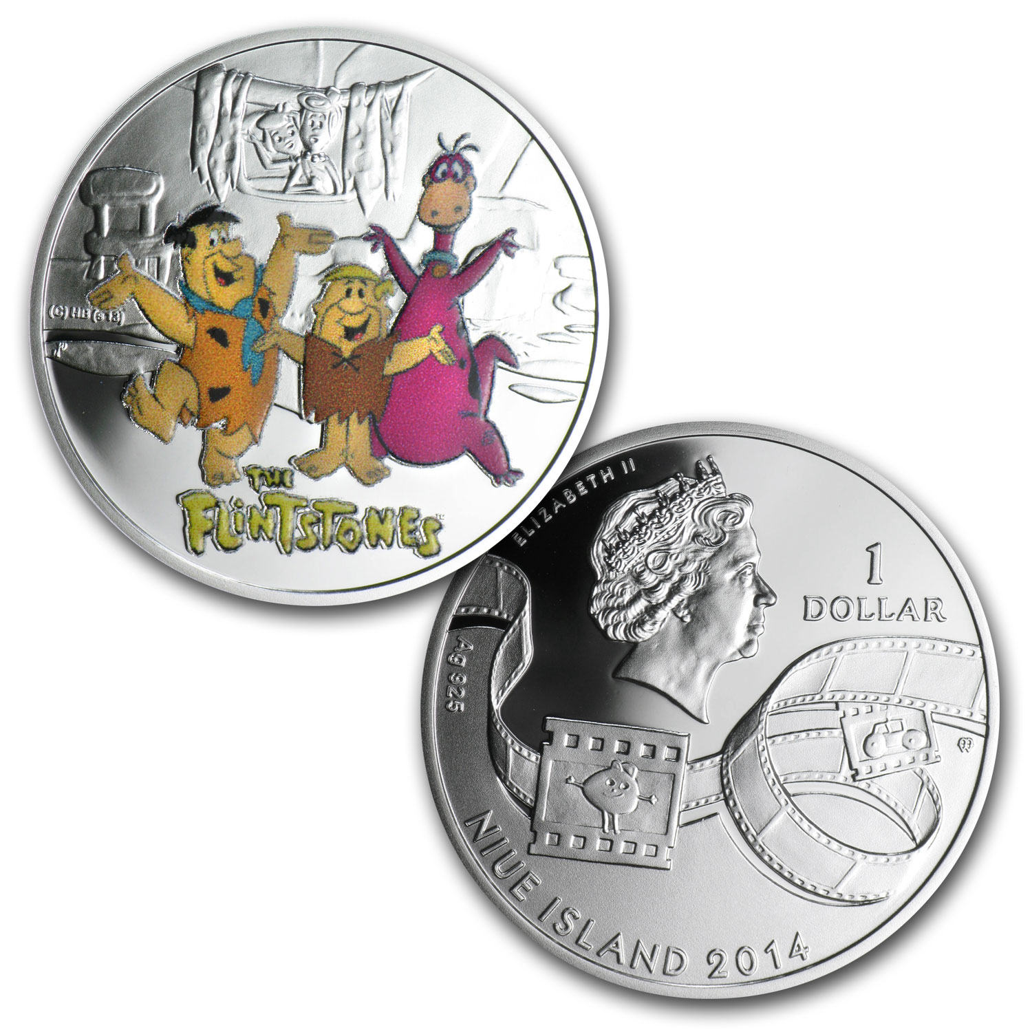2014 Niue Proof Silver $1 Cartoon Characters Flintstones