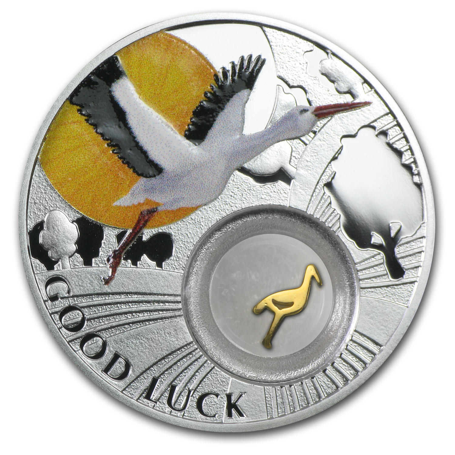 2014 Niue Proof Silver $1 Good Luck Series Stork