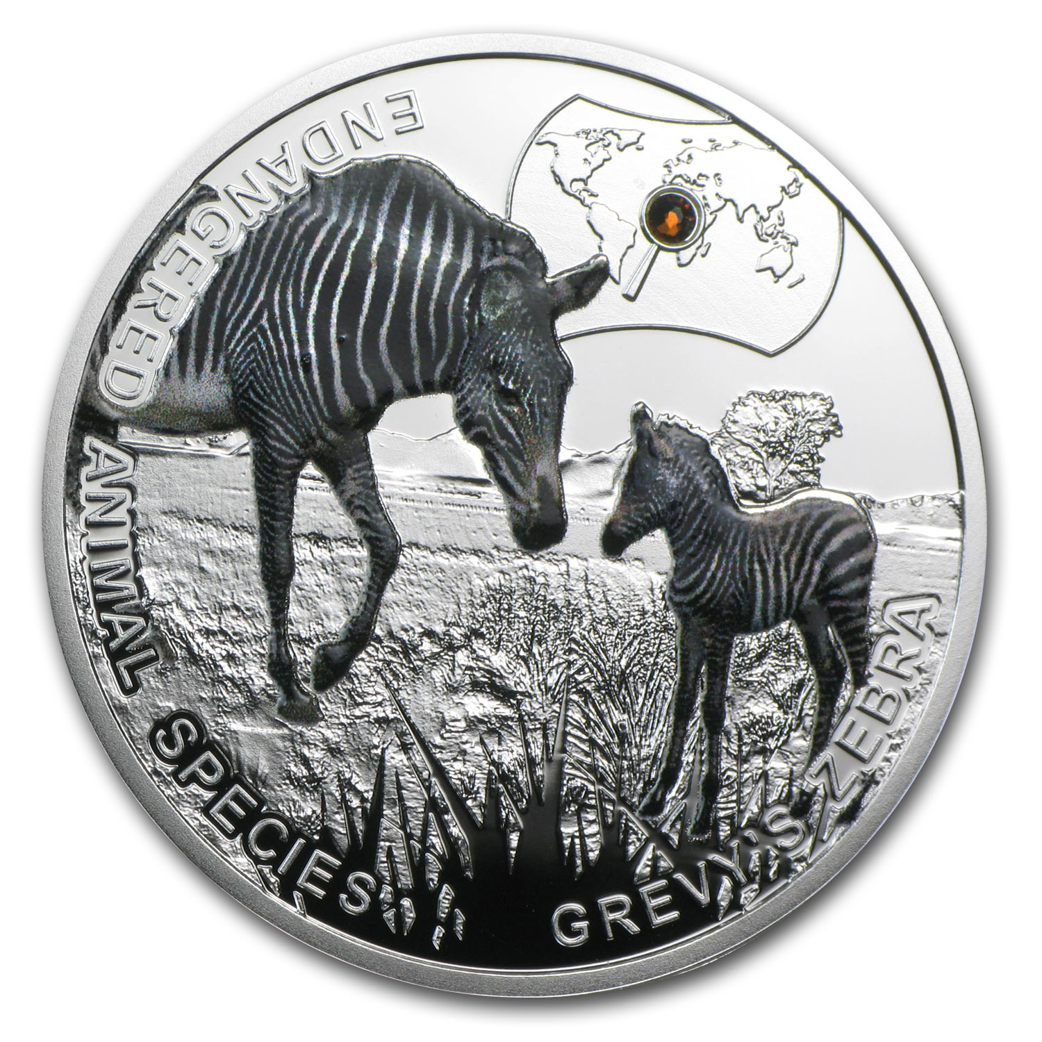 2014 Niue Proof Silver Endangered Animal Species Grevy's Zebra