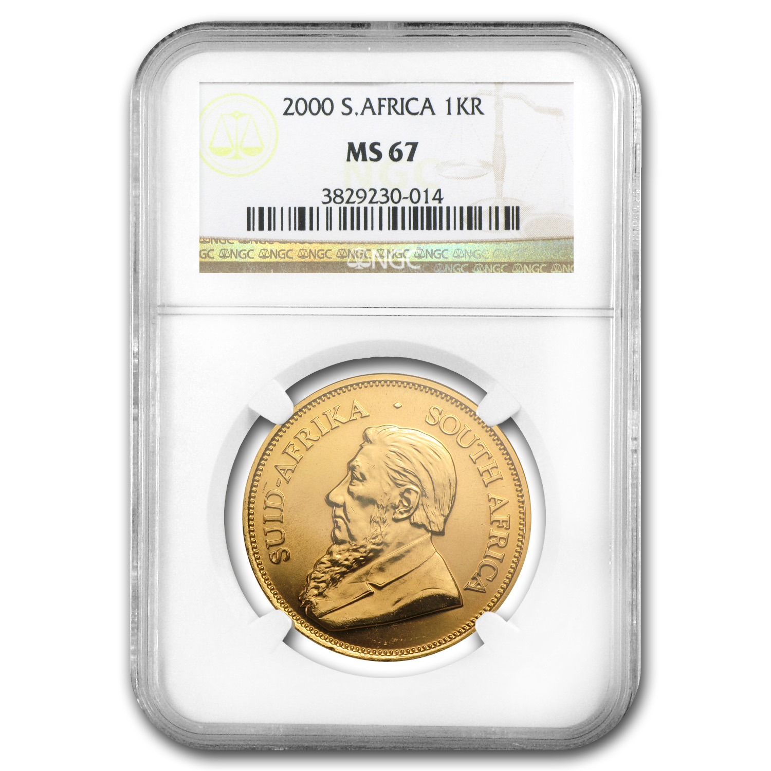 2000 1 oz Gold South African Krugerrand MS-67 NGC