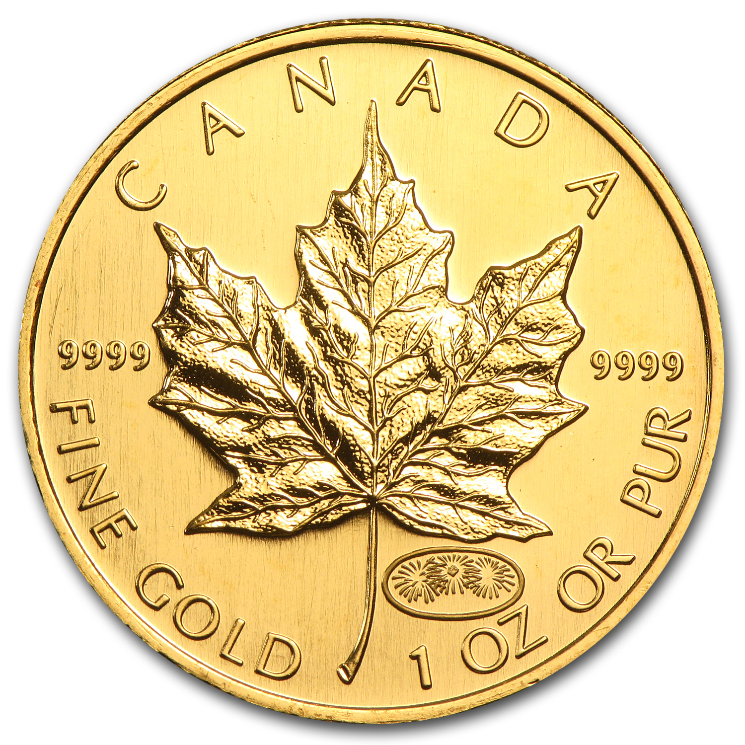 1999/2000 1 oz Gold Canadian Maple Leaf - Fireworks Privy (BU)