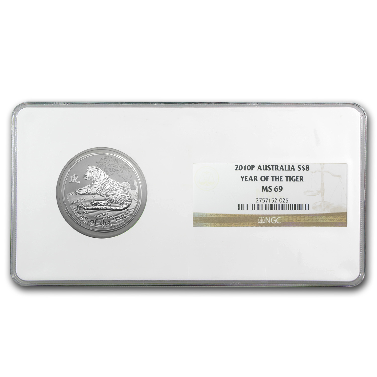 2010 5oz Silver Australian Year of the Tiger Coin (SII) MS-69 NGC