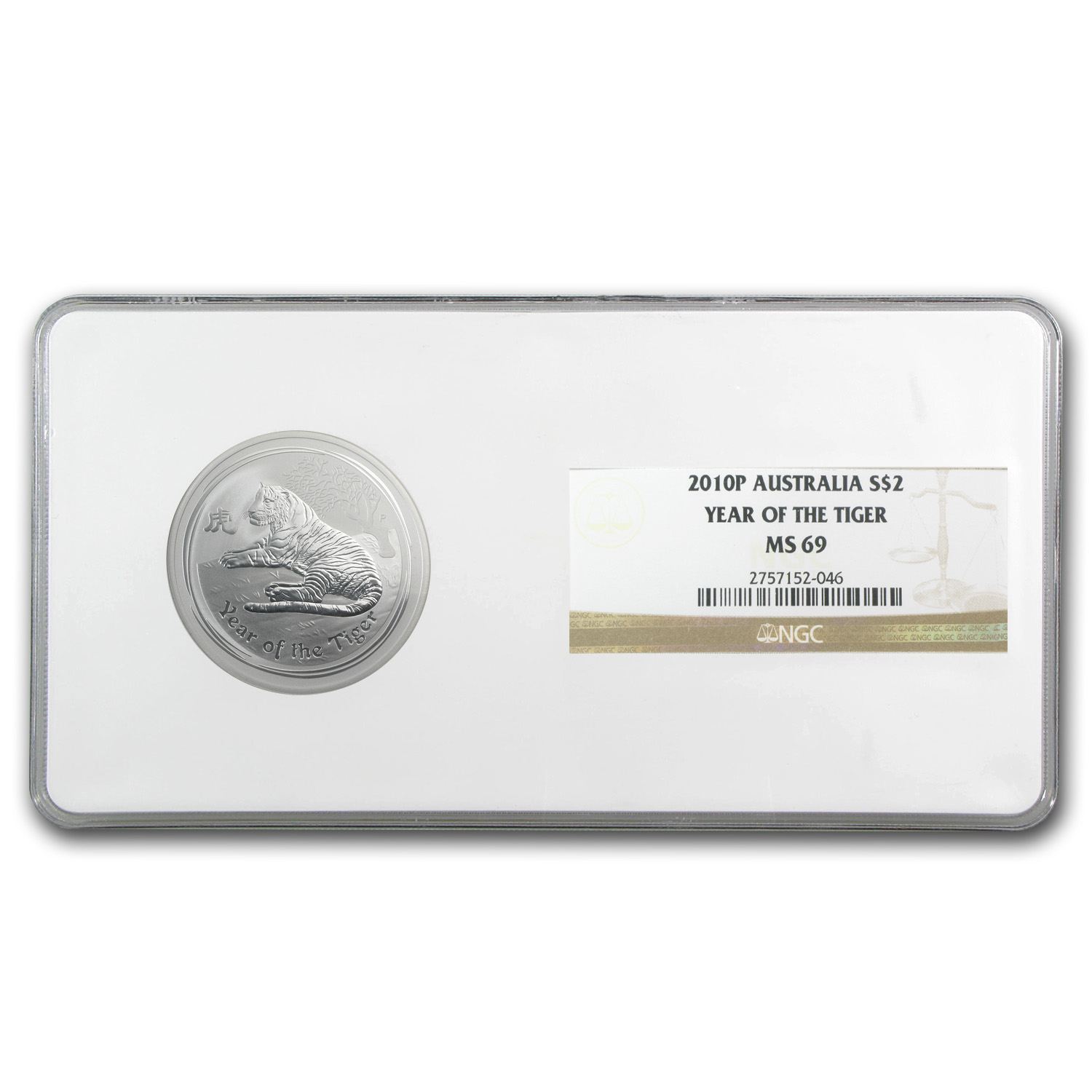 2010 2 oz Silver Australian Tiger MS-69 NGC (Series II)