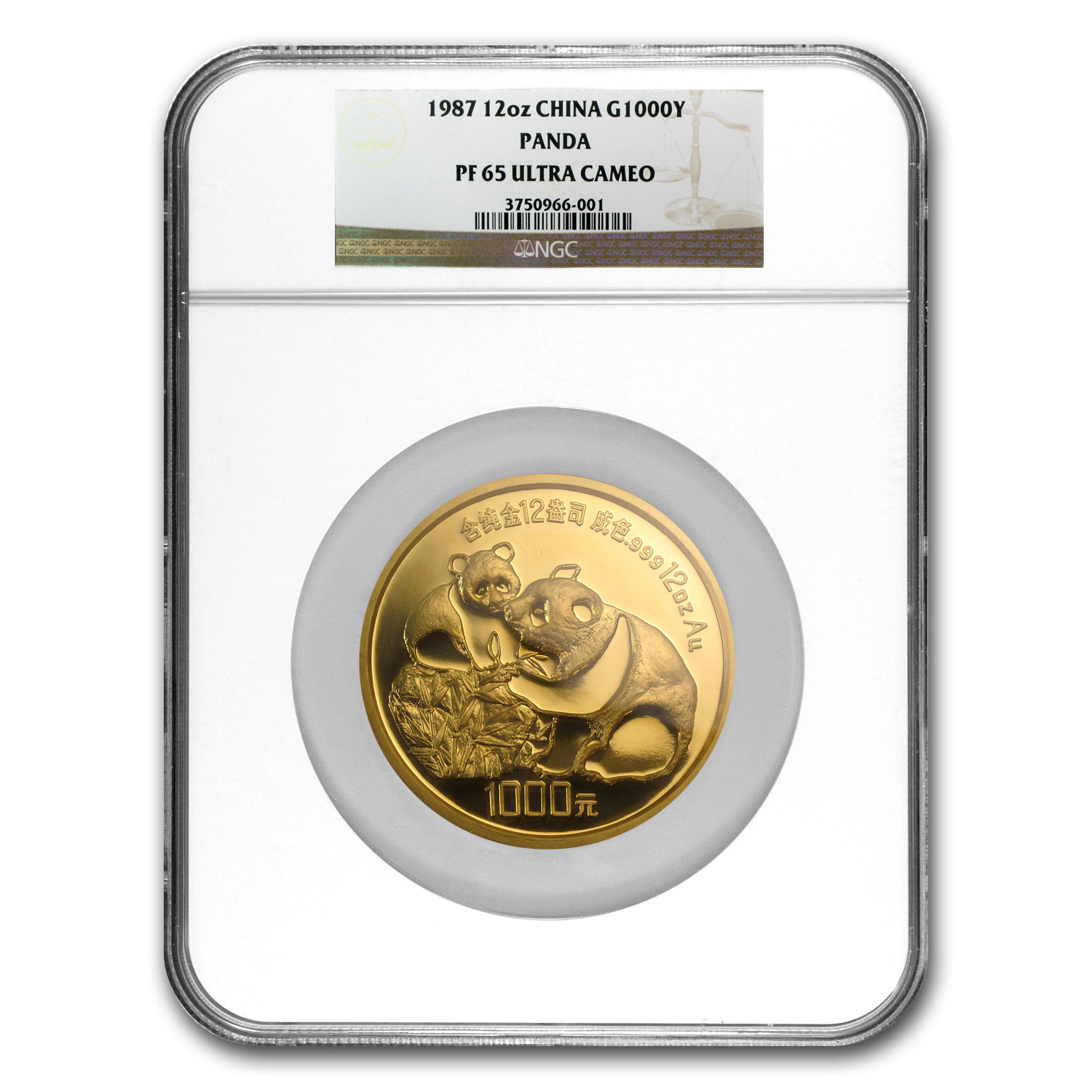 1987 (Giant 12 oz Proof) Gold Chinese Panda PF-65 UCAM NGC