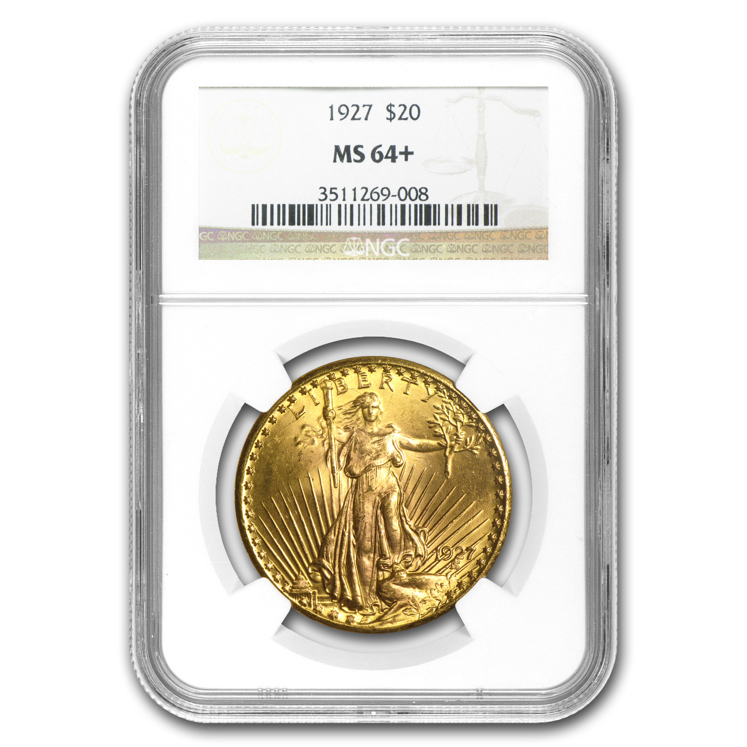 $20 Saint-Gaudens Gold Double Eagle MS-64+ NGC