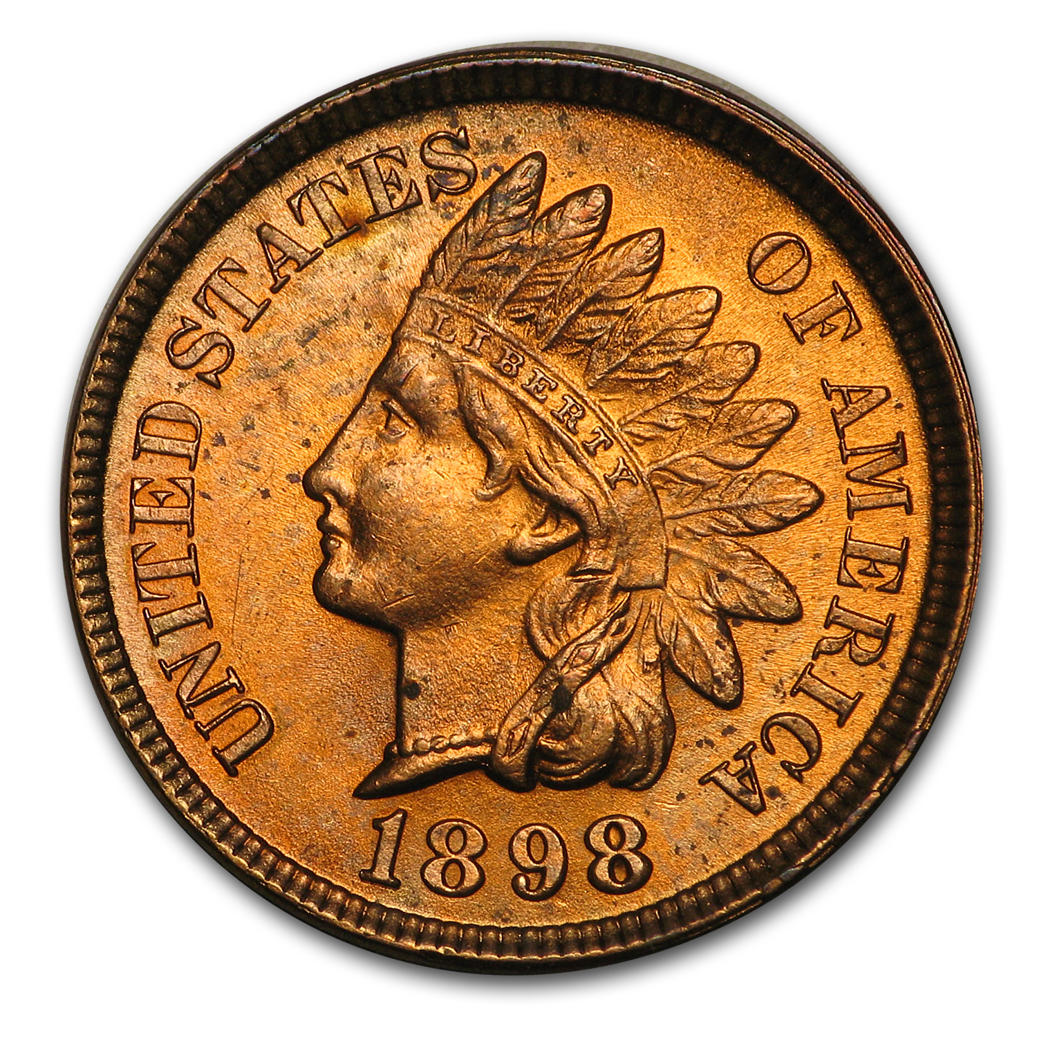 1898 Indian Head Cent MS-63 (Red/Brown)